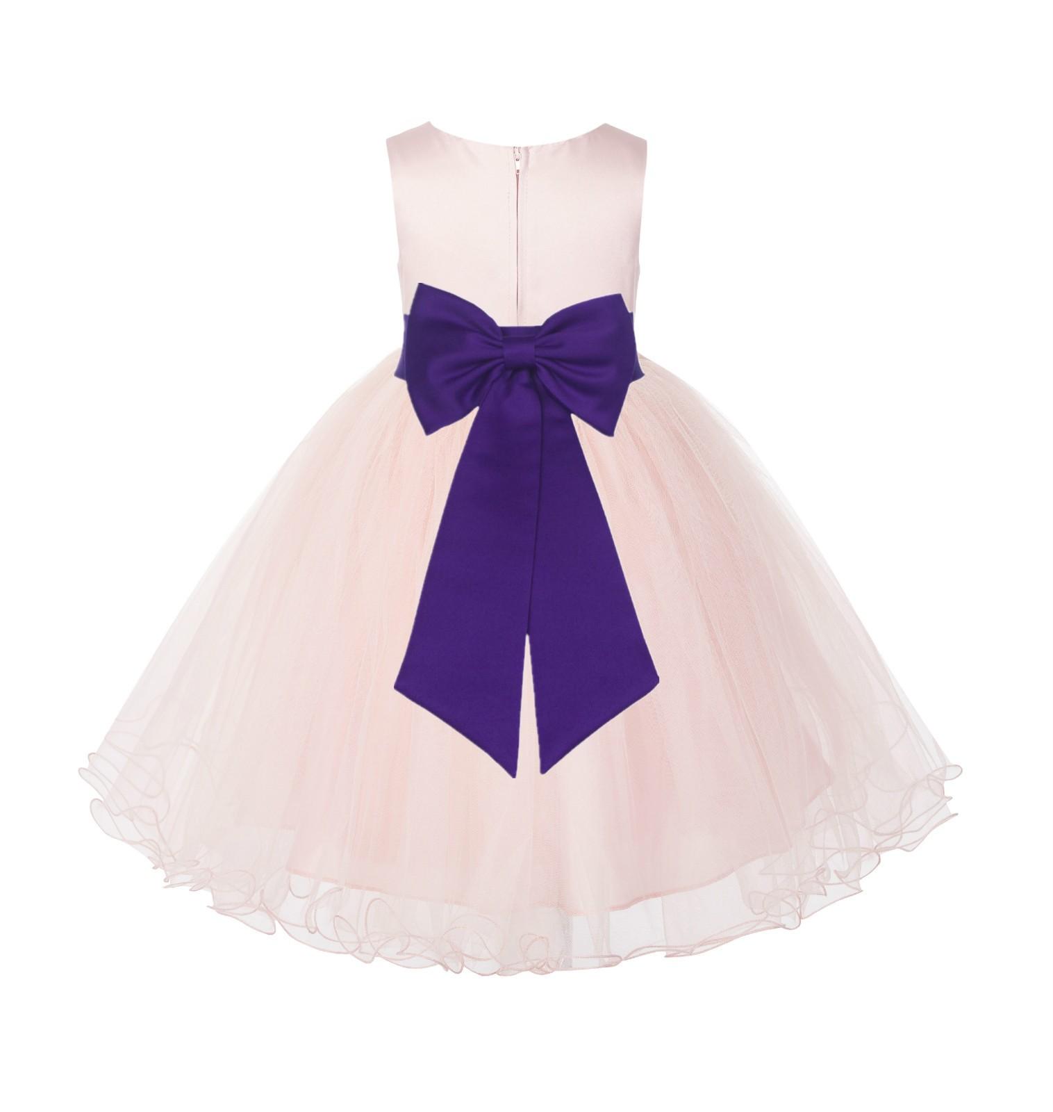 Blush PInk / Cadbury Tulle Rattail Edge Flower Girl Dress Wedding Bridesmaid 829T