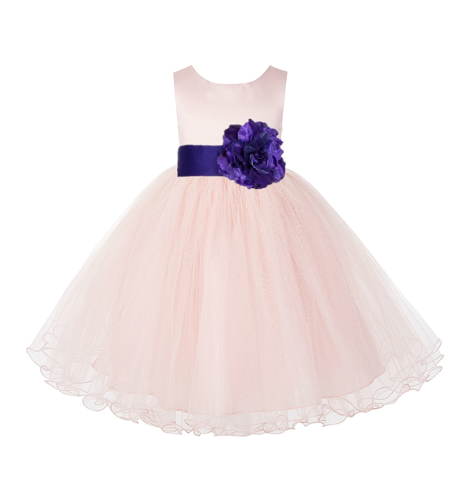Blush Pink / Cadbury Tulle Rattail Edge Flower Girl Dress Pageant Recital 829S