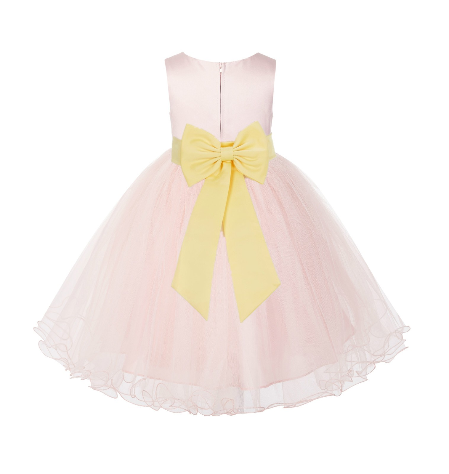 Blush PInk / Canary Tulle Rattail Edge Flower Girl Dress Wedding Bridesmaid 829T
