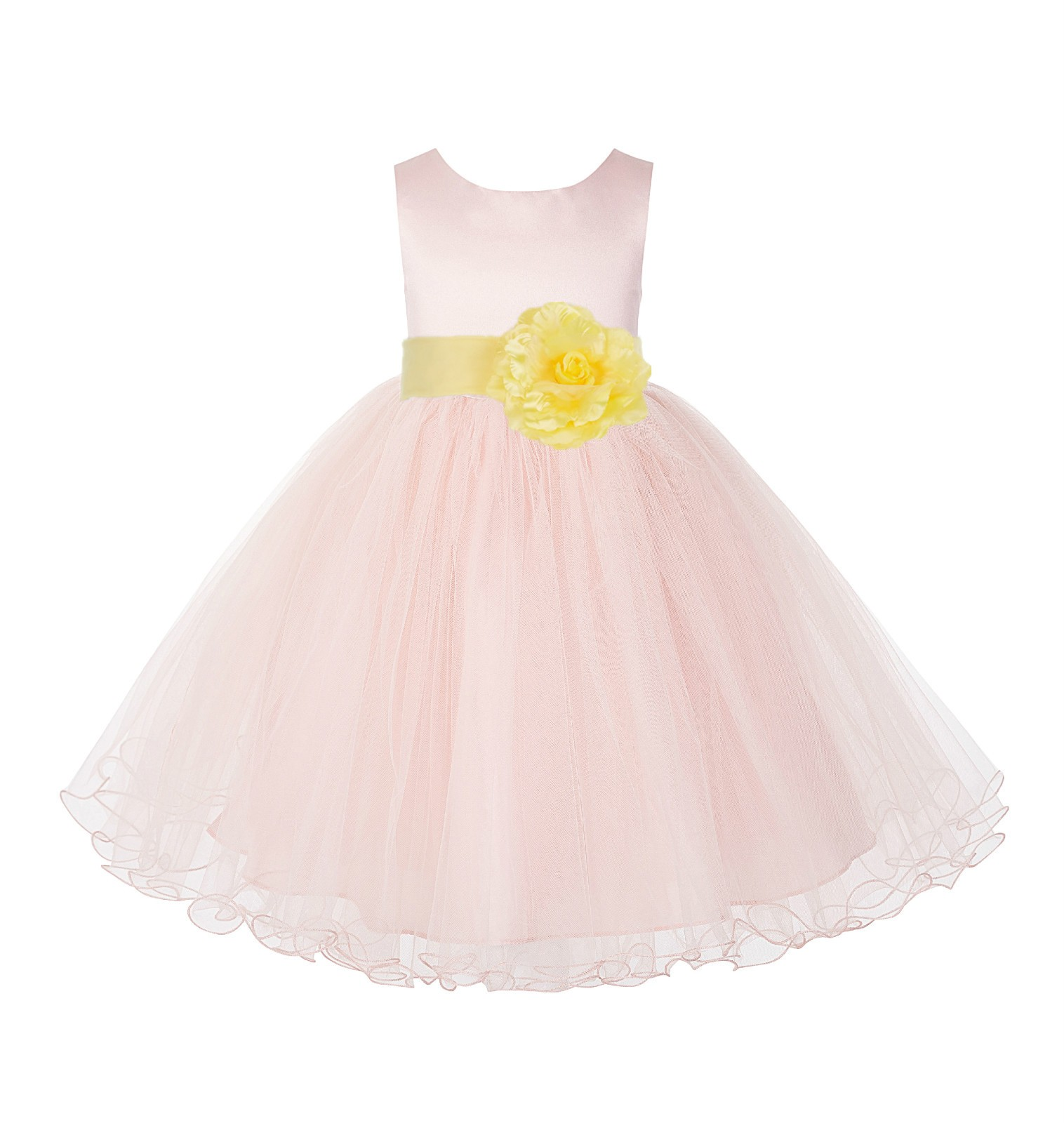 Blush Pink /Canary Tulle Rattail Edge Flower Girl Dress Pageant Recital 829S