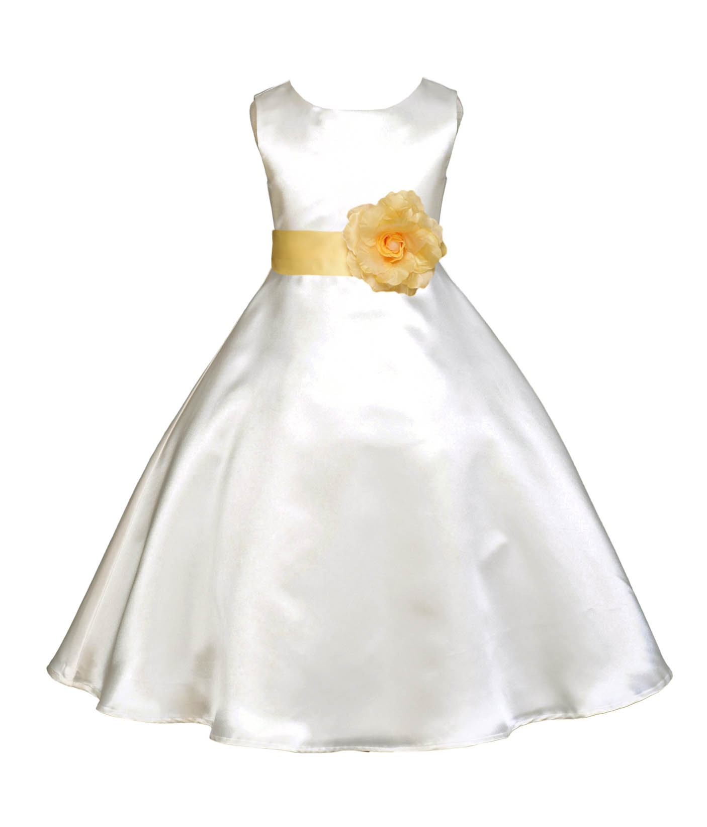 Ivorycanary A Line Satin Flower Girl Dress Pageant Reception 821t