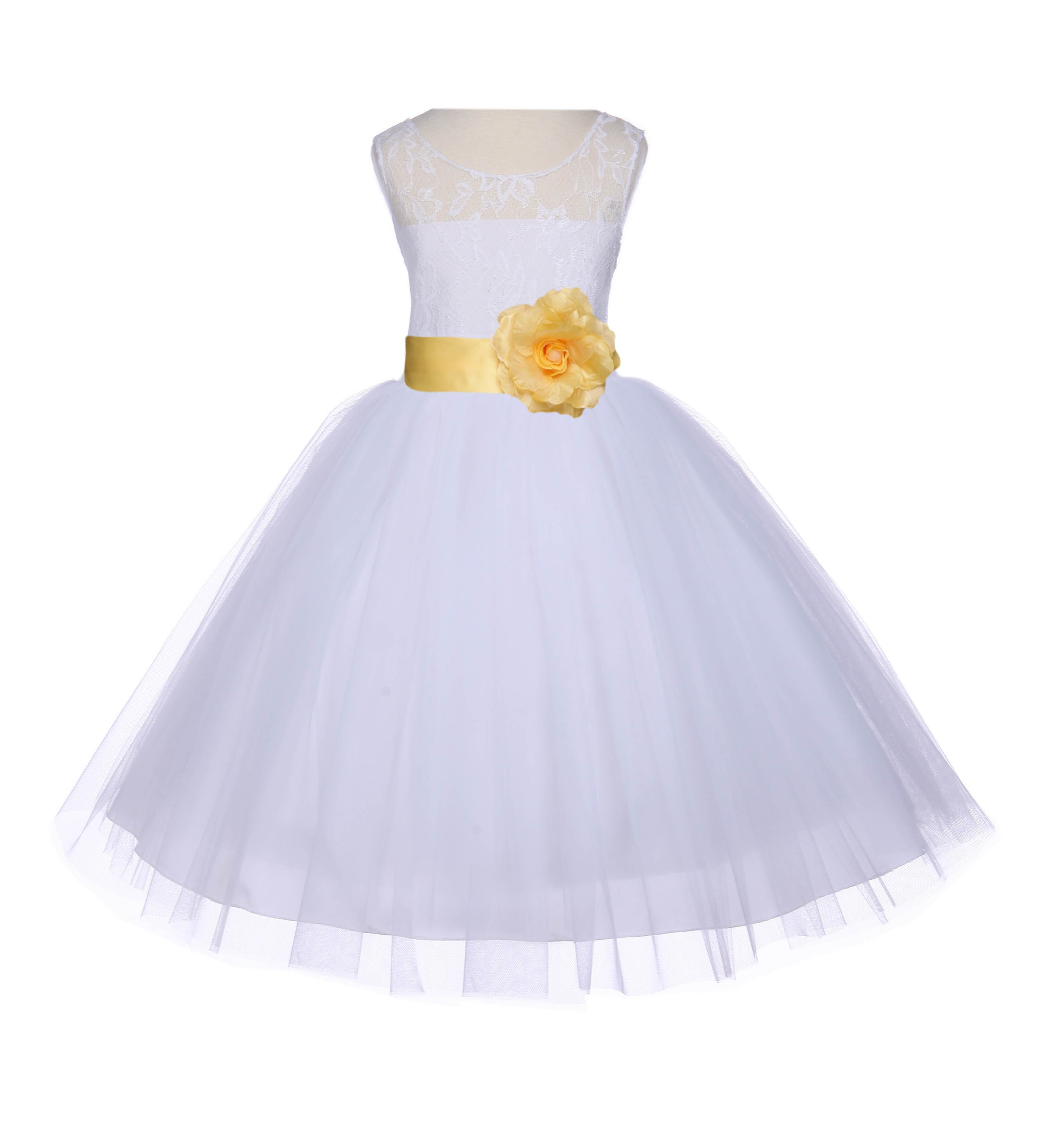 Whitecanary Floral Lace Bodice Tulle Flower Girl Dress Wedding 153s