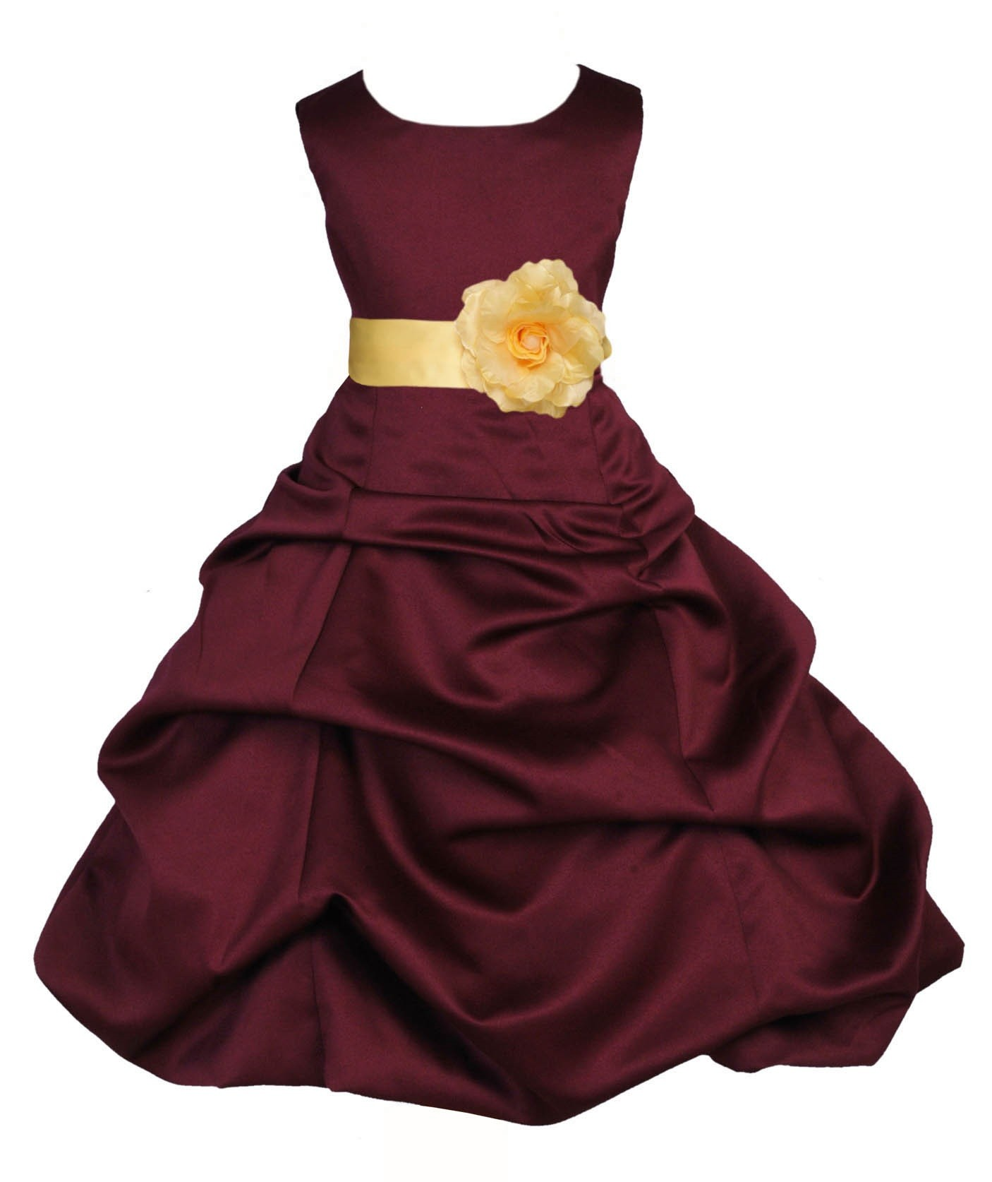 Burgundy/Canary Satin Pick-Up Bubble Flower Girl Dress Event 808T
