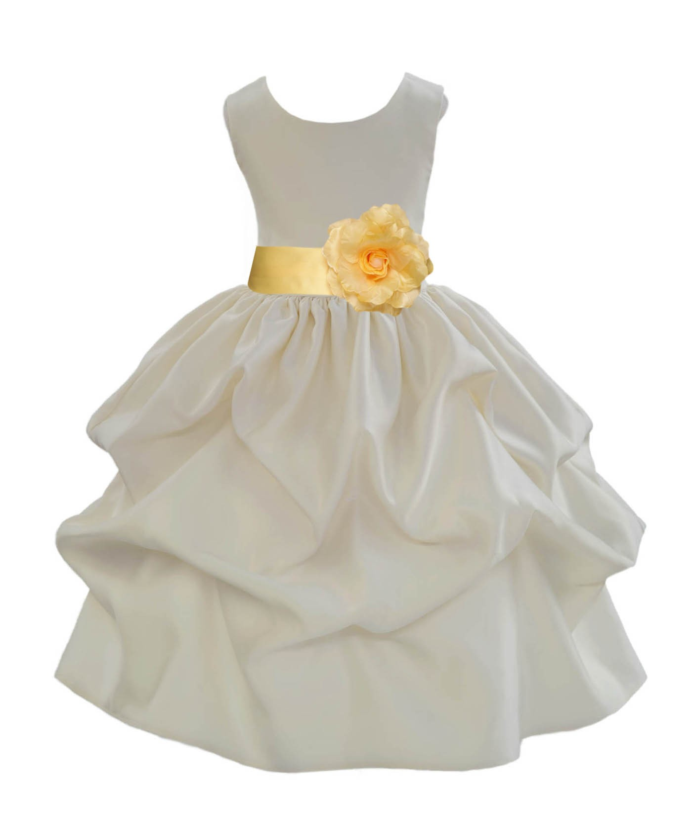 Ivorycanary Satin Pick Up Flower Girl Dress Bridesmaid 208t Ivory