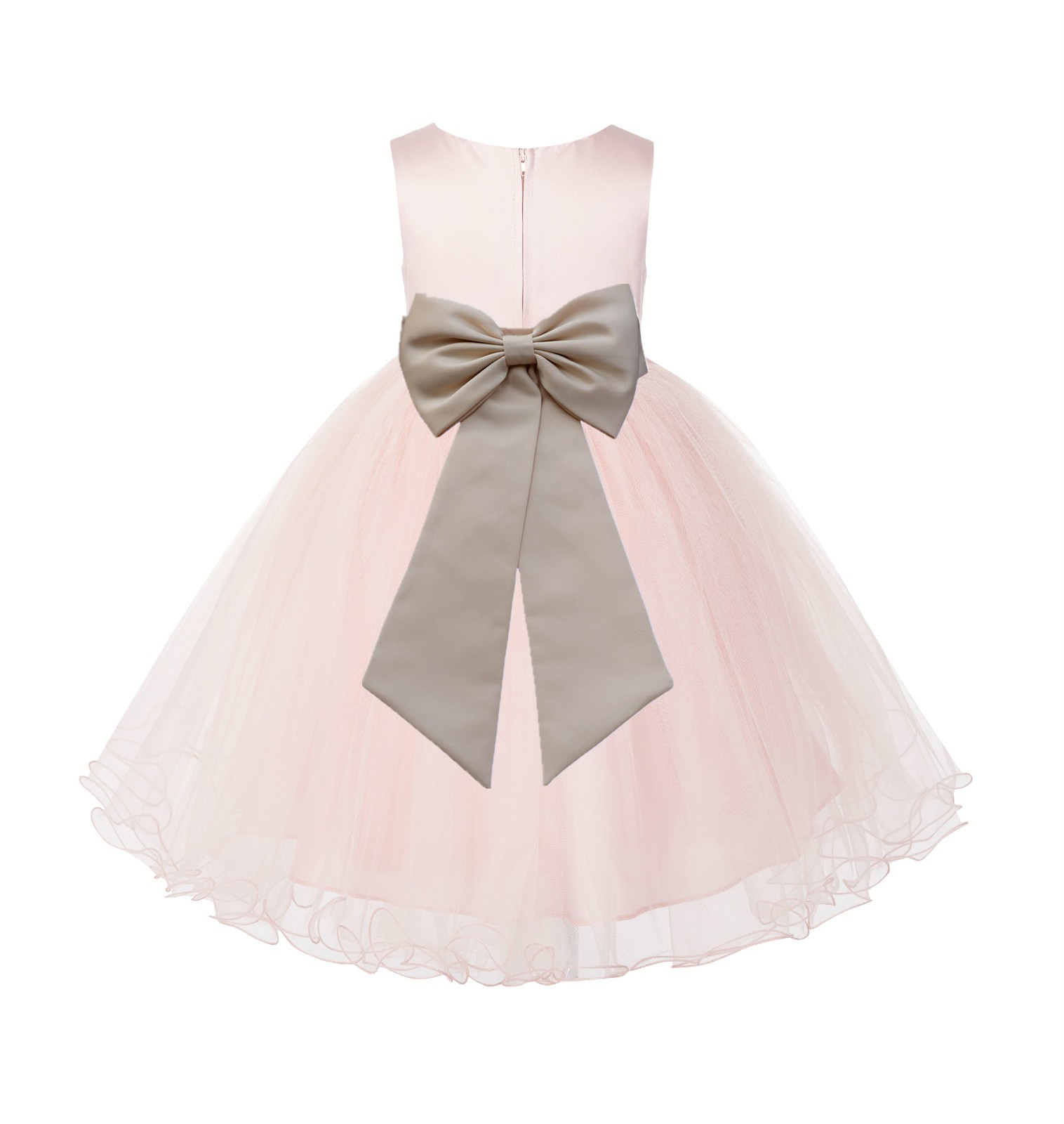 Blush PInk / champagne Tulle Rattail Edge Flower Girl Dress Wedding Bridesmaid 829T
