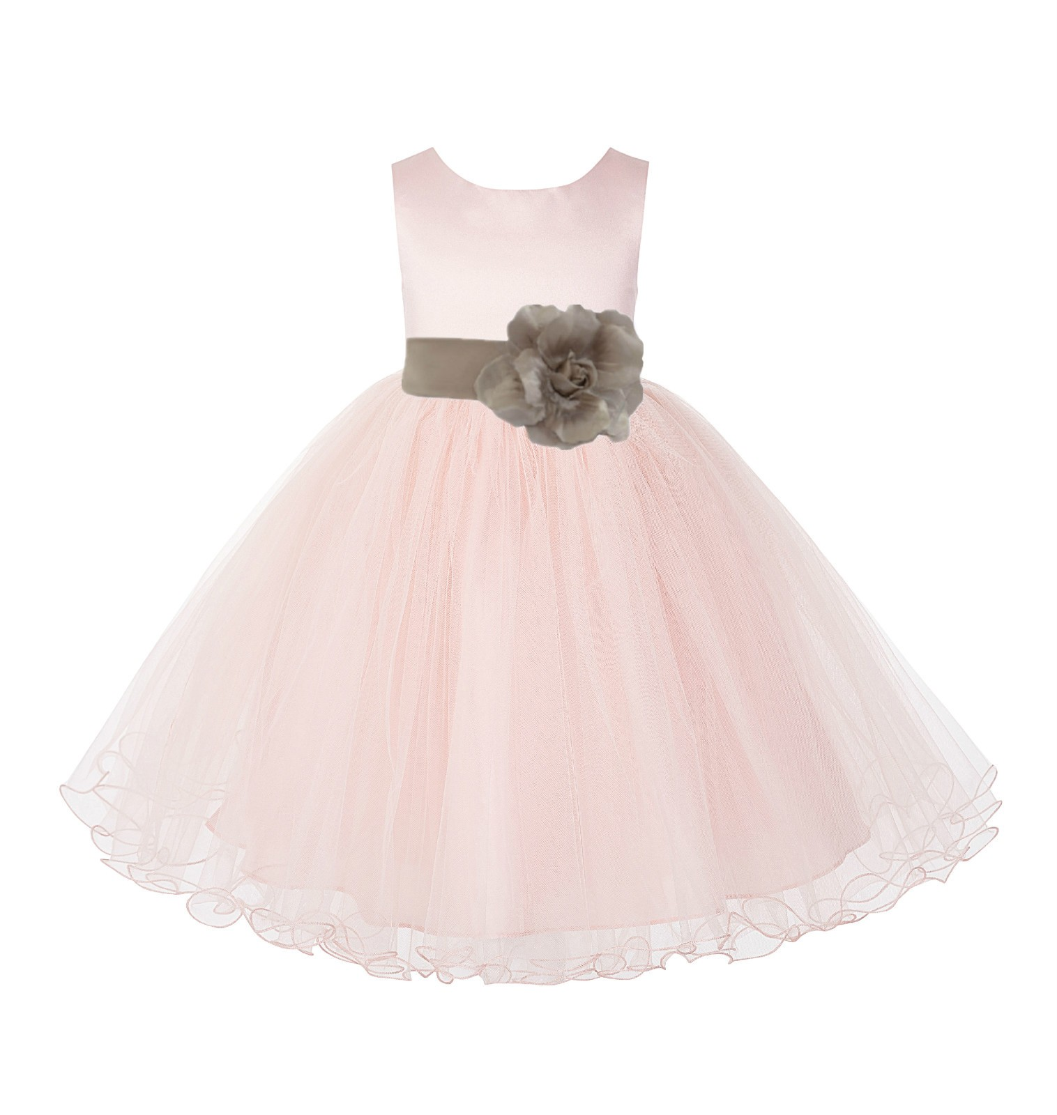 Blush Pink / Champagne Tulle Rattail Edge Flower Girl Dress Pageant Recital 829S