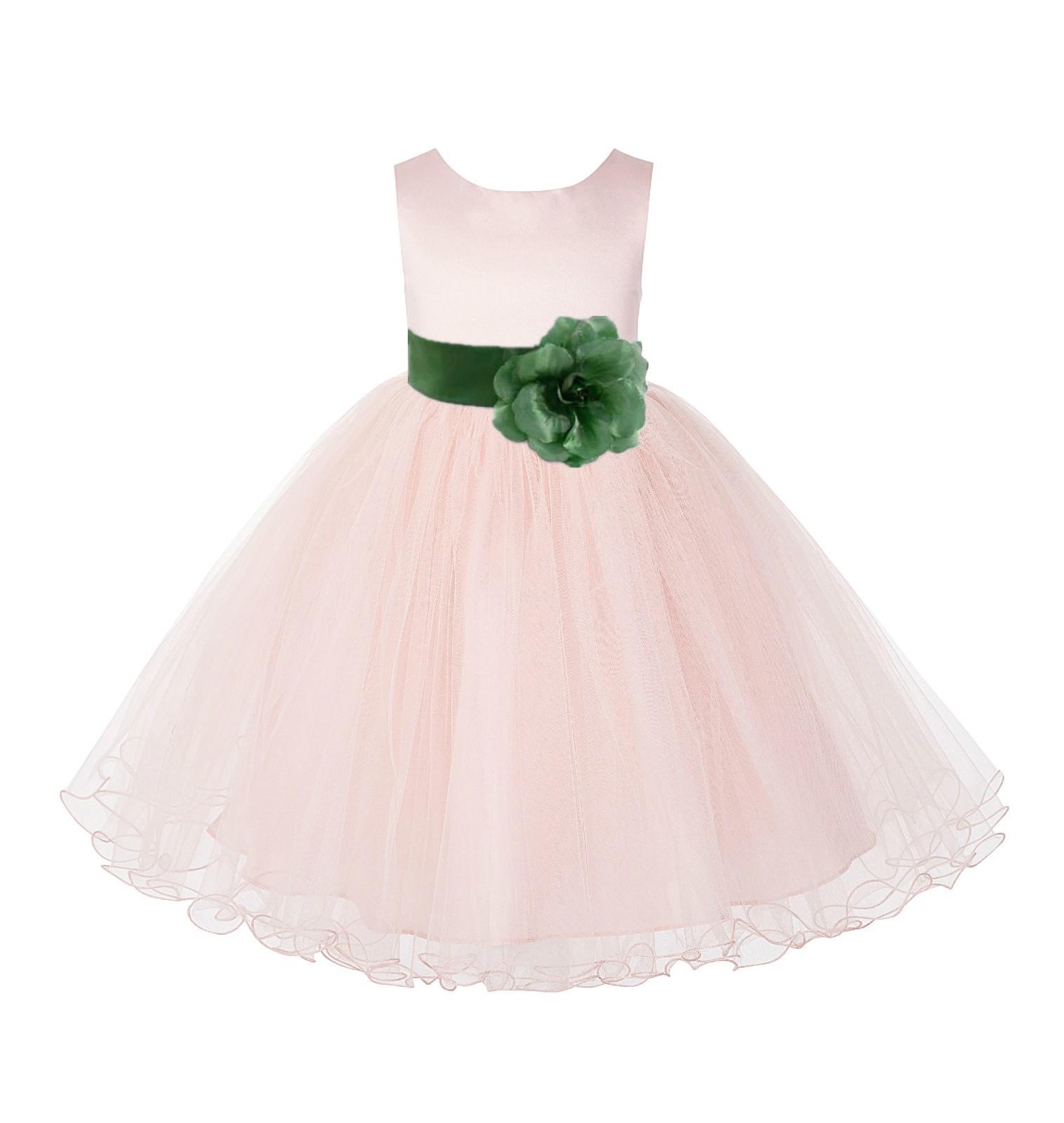 Blush Pink / Clover Tulle Rattail Edge Flower Girl Dress Pageant Recital 829S