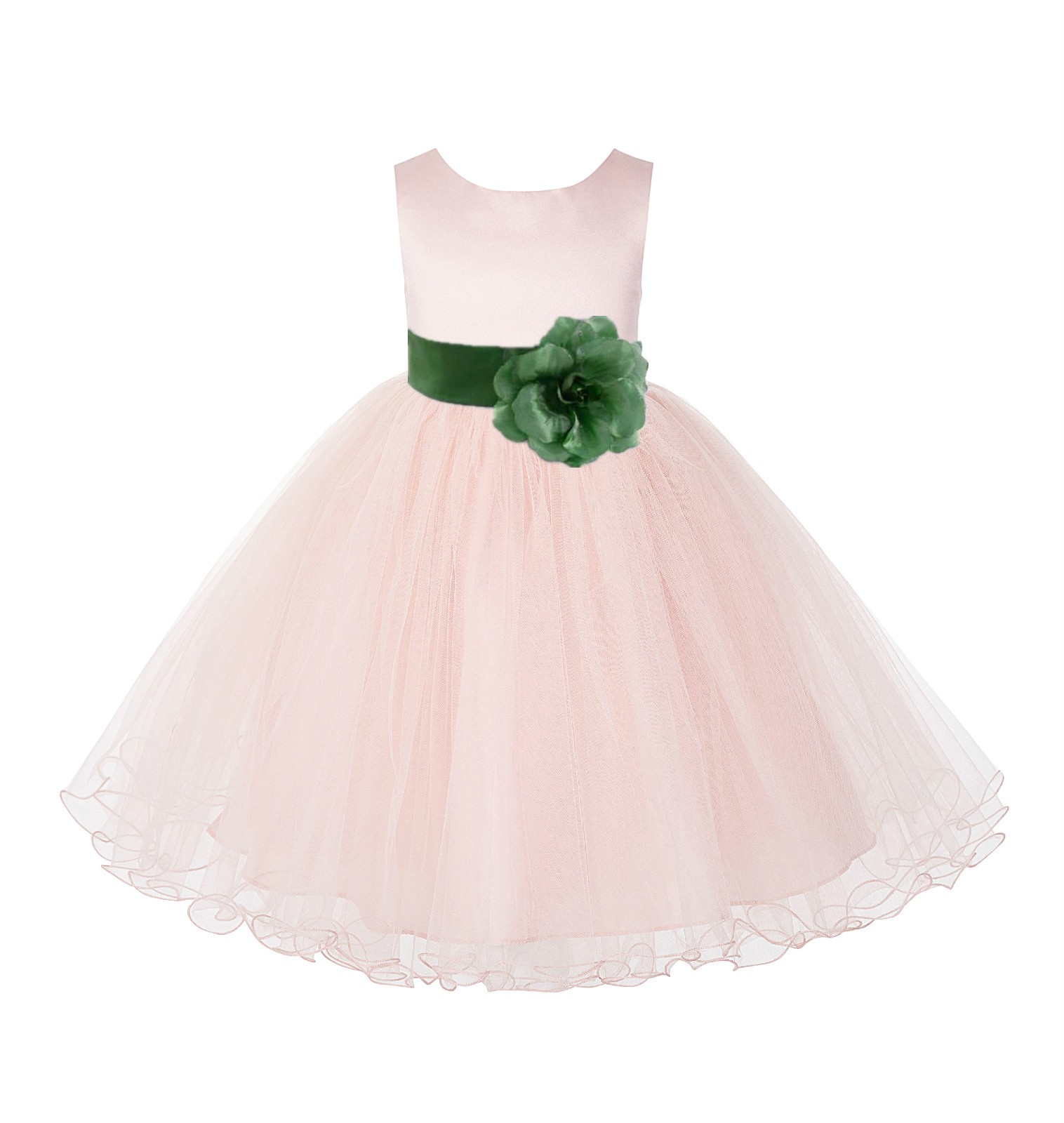 Blush PInk / Clover Tulle Rattail Edge Flower Girl Dress Wedding Bridesmaid 829T