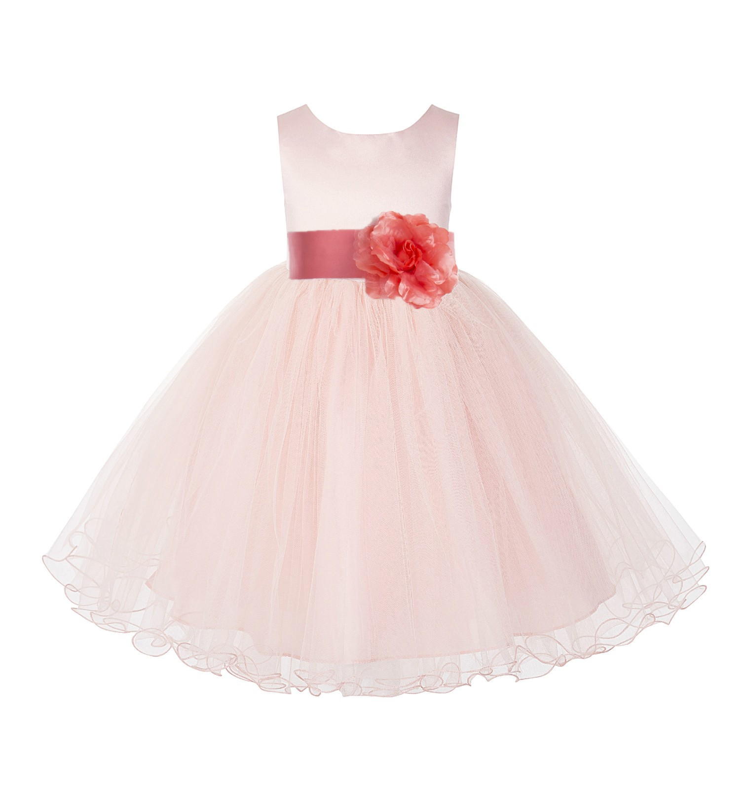 Blush Pink / Coral Tulle Rattail Edge Flower Girl Dress Pageant Recital 829S