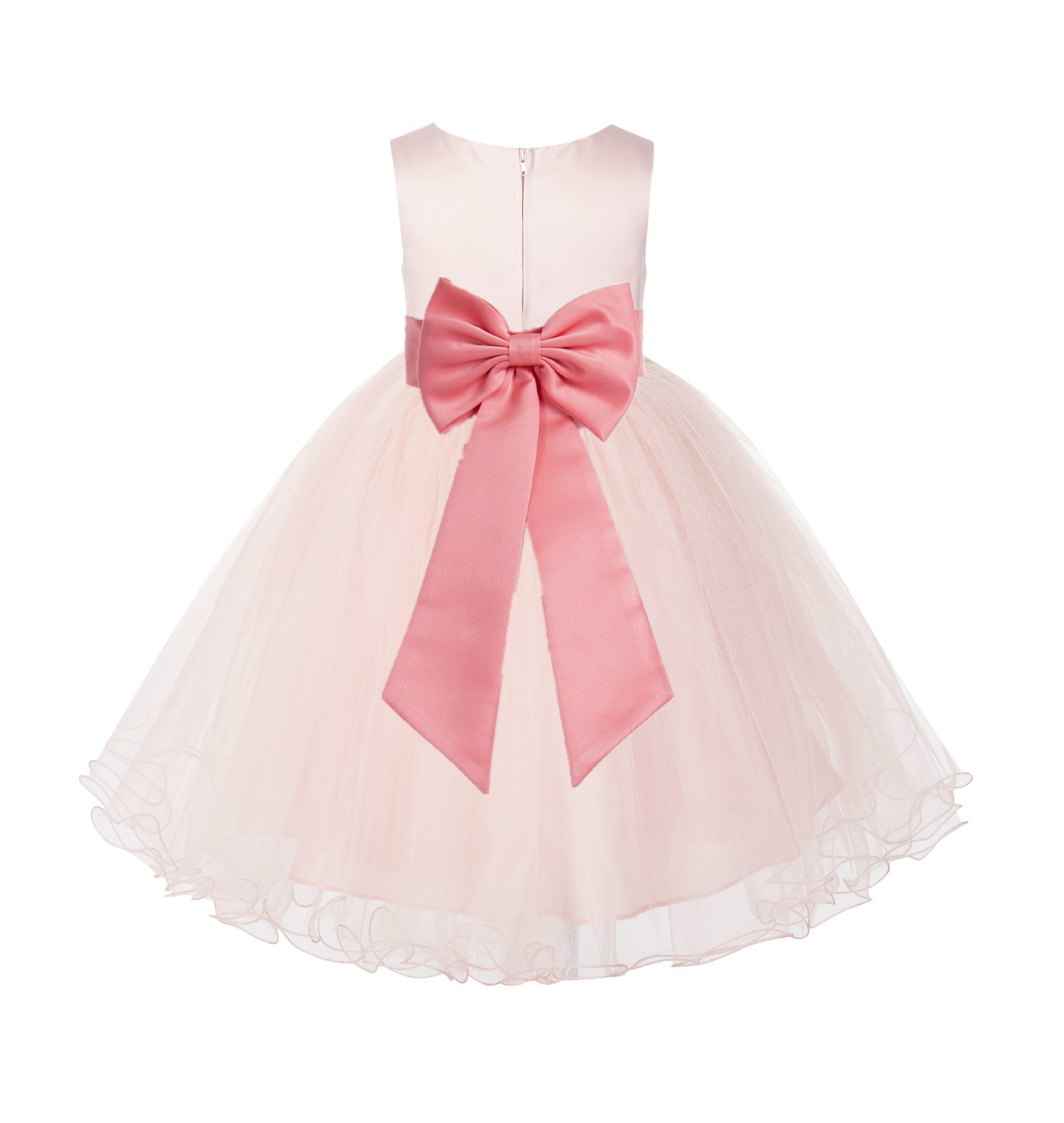 Blush PInk / Coral Tulle Rattail Edge Flower Girl Dress Wedding Bridesmaid 829T