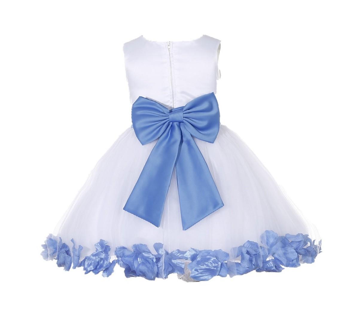 White/ Corn Flower Rose Petals Tulle Flower Girl Dress Wedding 305T