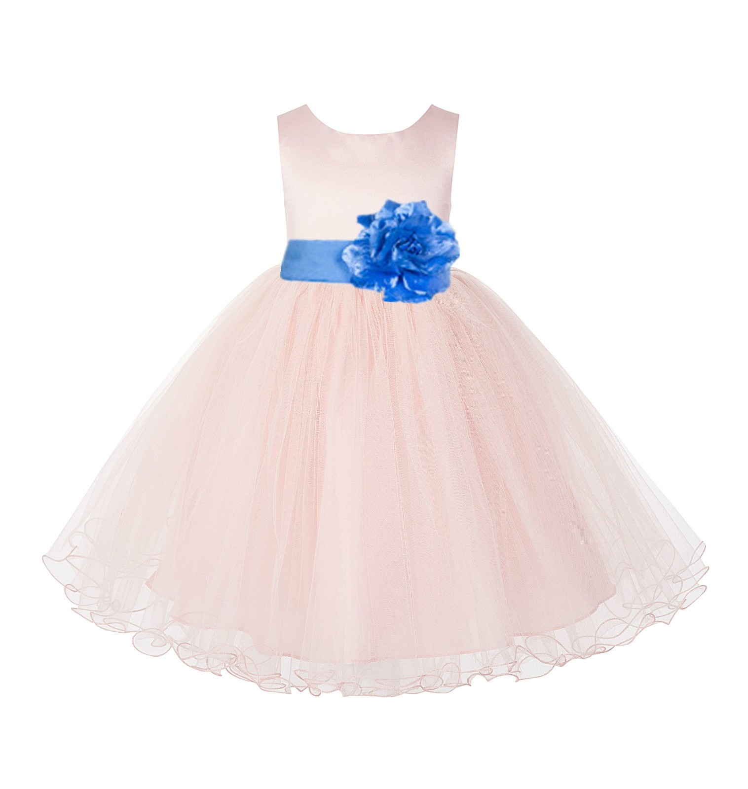 Blush Pink / Corn flower Tulle Rattail Edge Flower Girl Dress Pageant Recital 829S