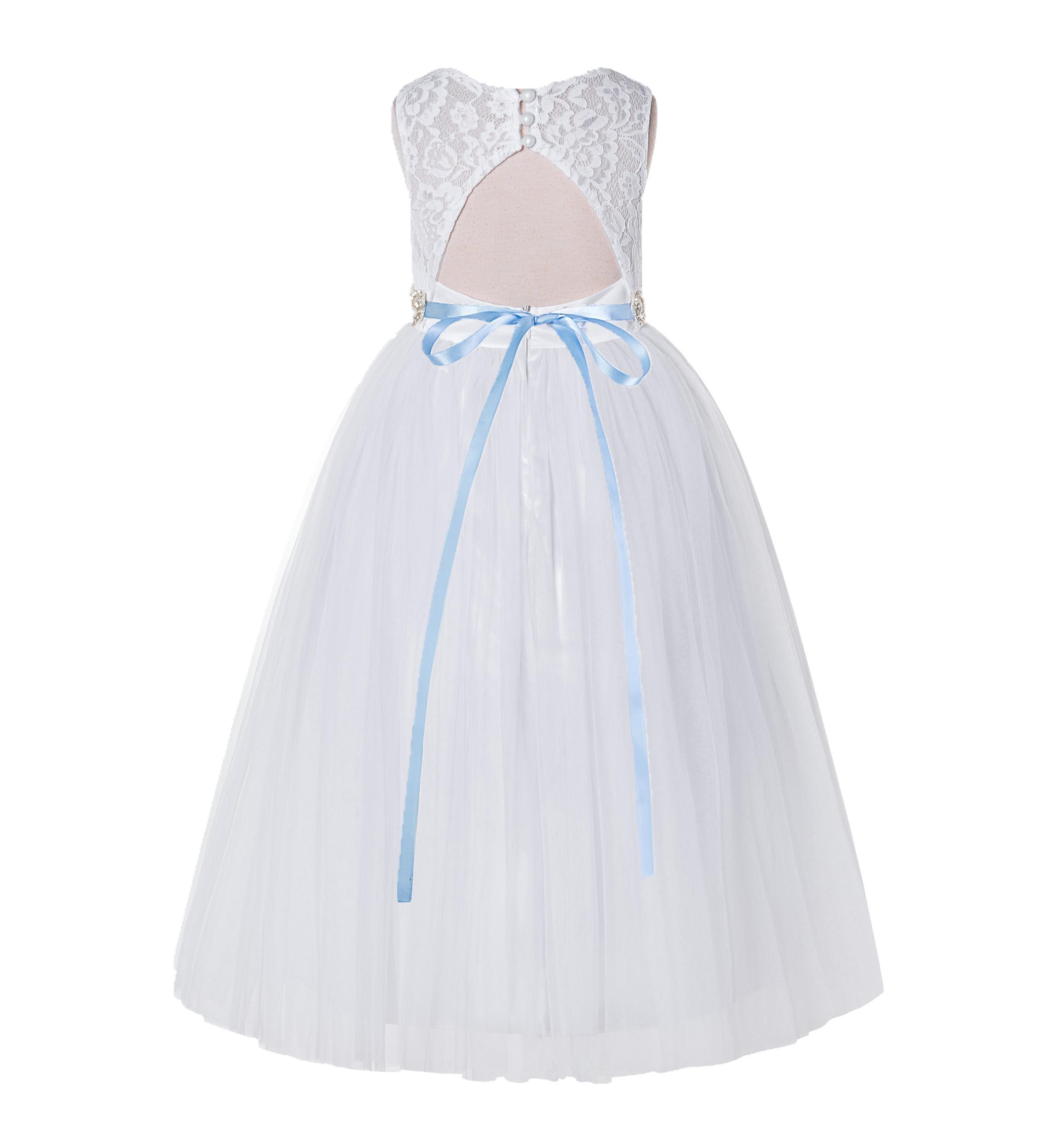 White / Dusty Blue A-Line Lace Flower Girl Dress 178R2