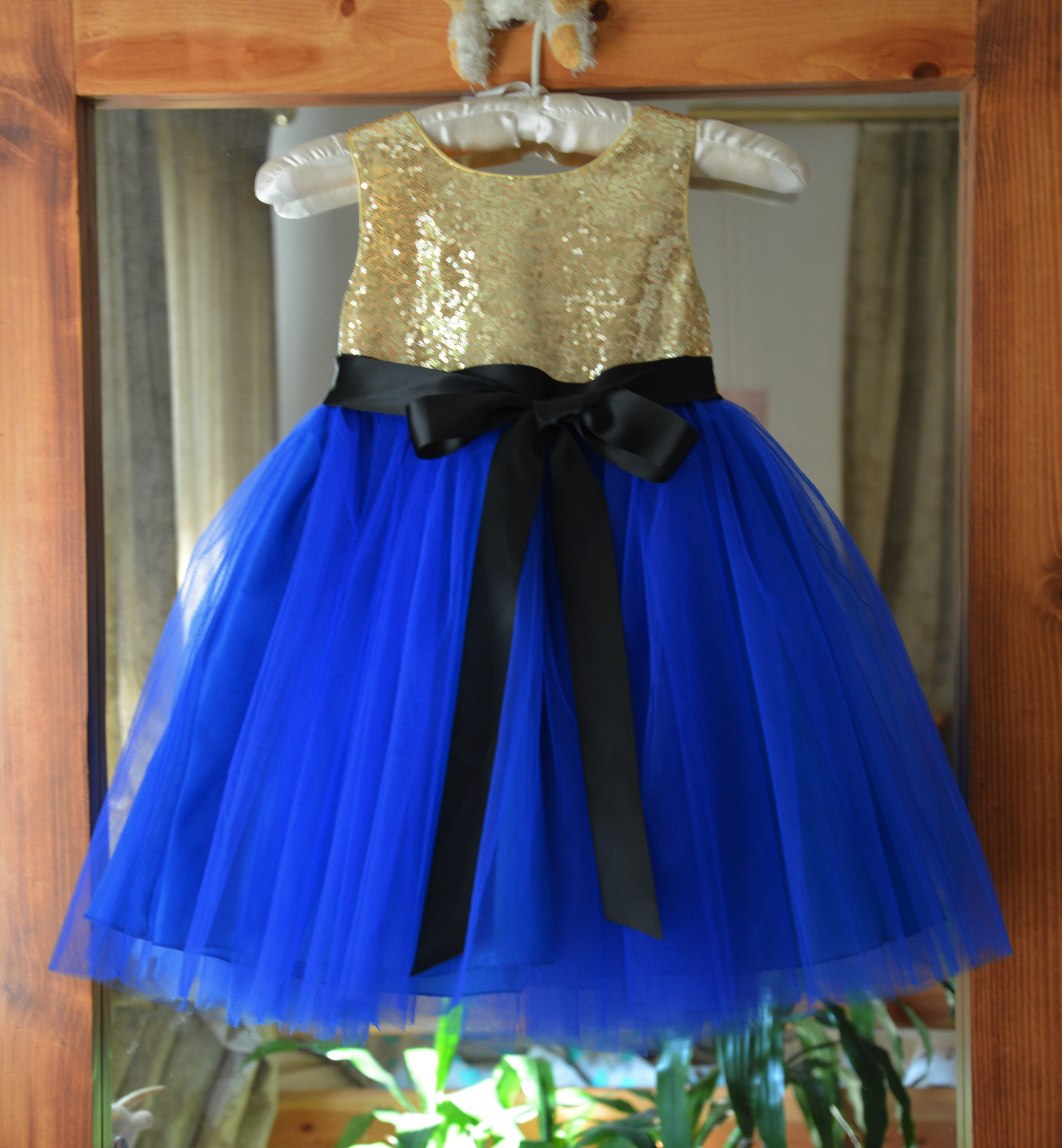 8b84336f945 Gold Royal Blue Black Glitter Sequin Tulle Flower Girl Dress Recital  Ceremony 123S