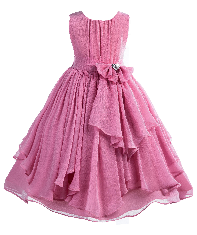 Dusty Rose Yoryu Chiffon Ruched Bodice Rhinestone Flower Girl Dress 162S