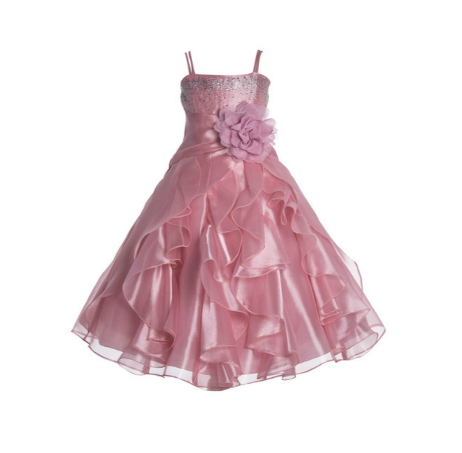 dffaa8a0f282 Dusty Rose Shimmering Organza Rhinestones Flower Girl Dress Formal ...