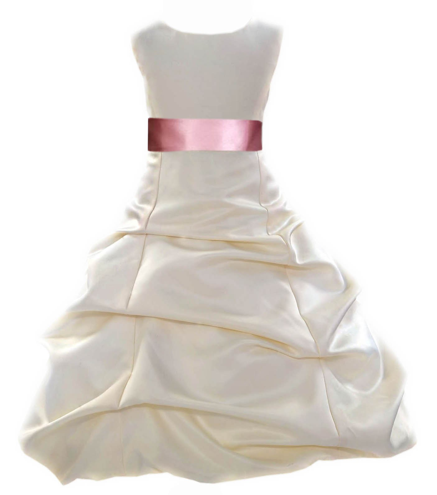 Ivorydusty Rose Satin Pick Up Bubble Flower Girl Dress Bridesmaid