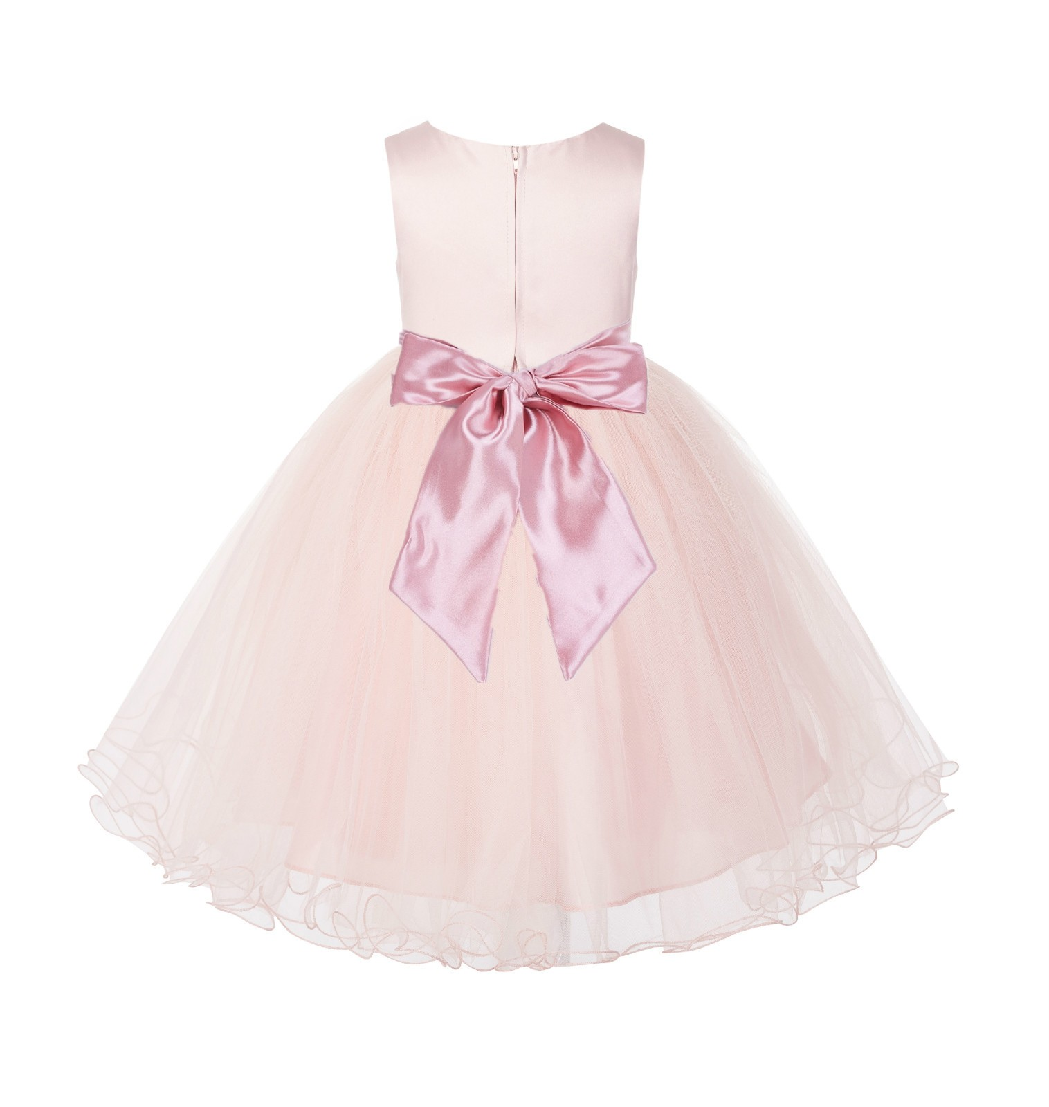 Blush Pink / Dusty rose Tulle Rattail Edge Flower Girl Dress Pageant Recital 829S