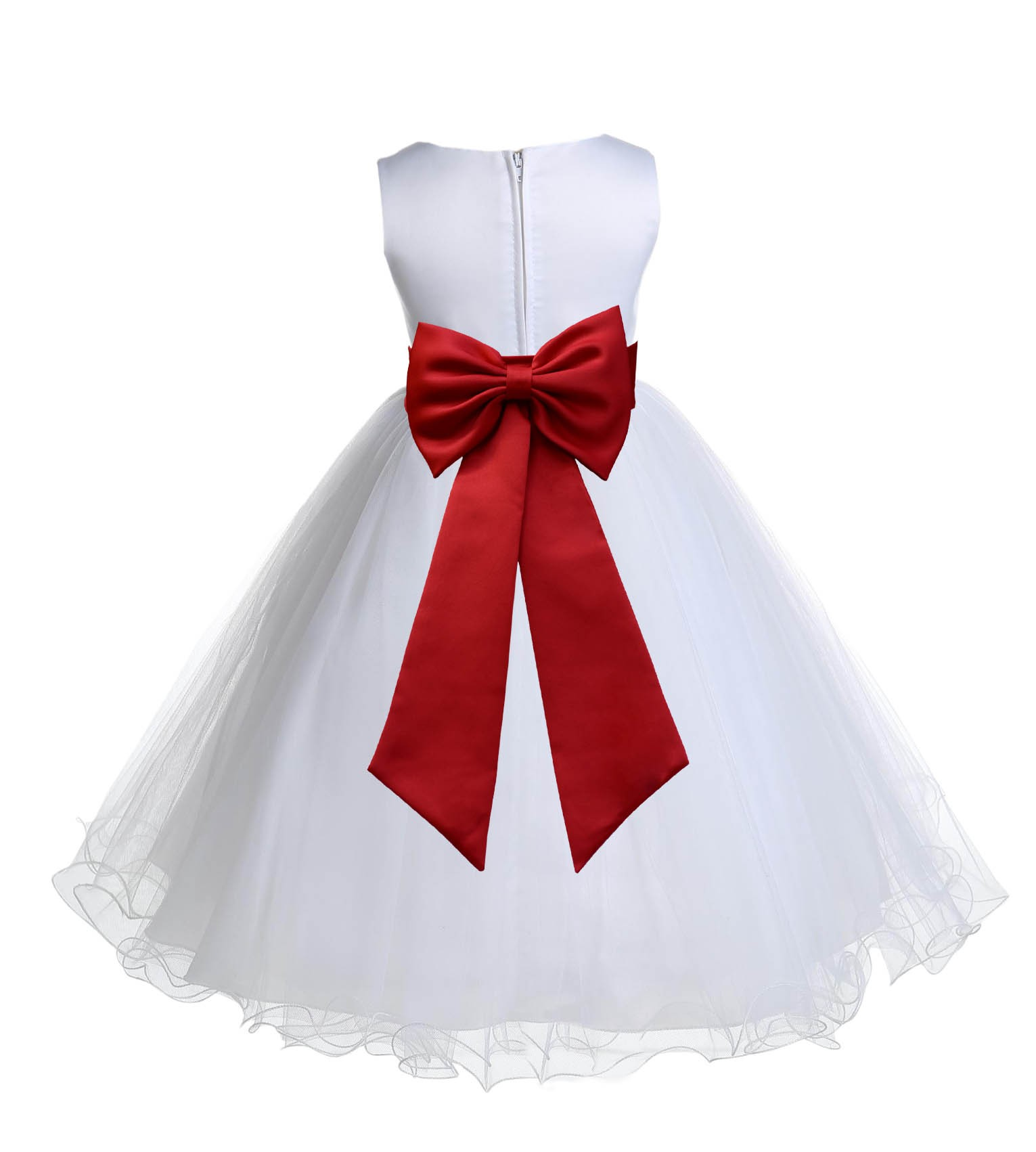 White apple red tulle rattail edge flower girl dress for How to ship a wedding dress usps