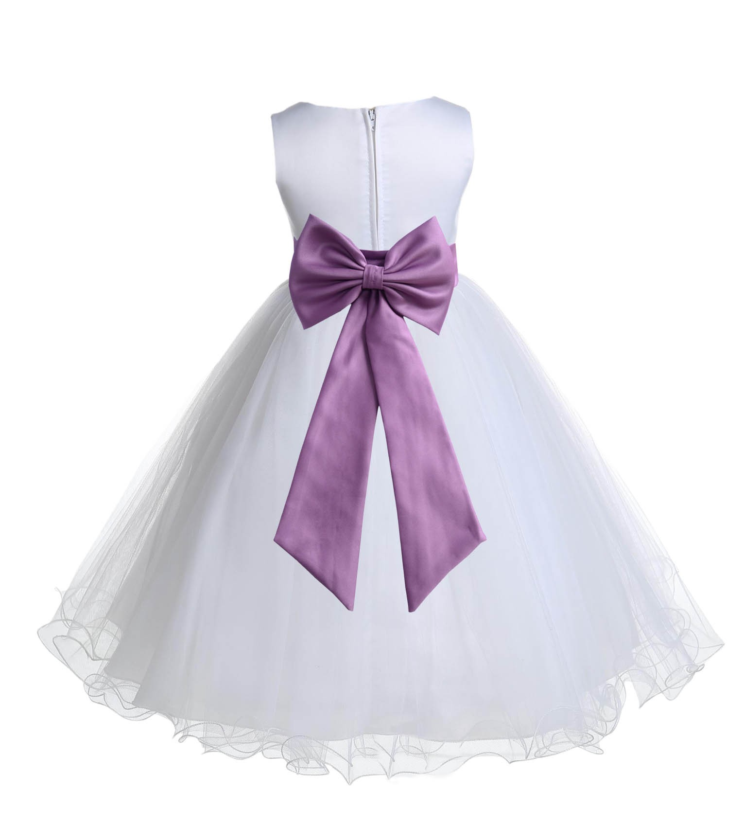 b9434036a34 White Wisteria Tulle Rattail Edge Flower Girl Dress Wedding Bridesmaid 829T