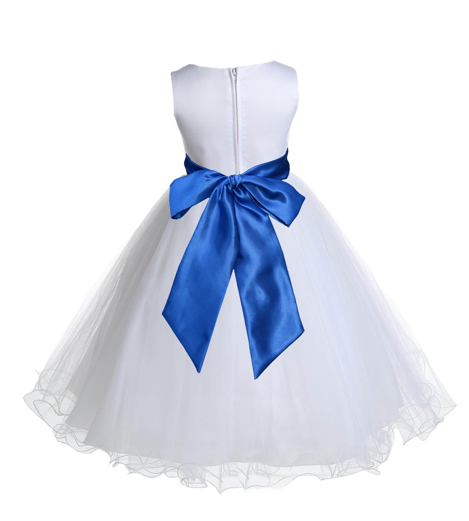 White Royal Blue Tulle Rattail Edge Flower Girl Dress Wedding Bridal 829s