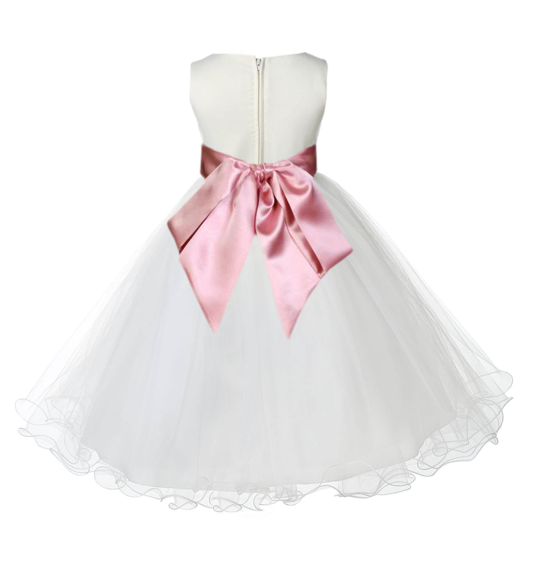 Ivorydusty Rose Tulle Rattail Edge Flower Girl Dress Pageant