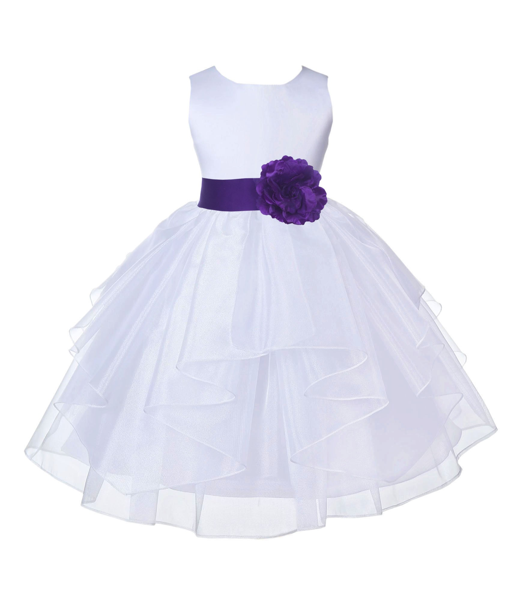 White/Cadbury Satin Shimmering Organza Flower Girl Dress Wedding 4613S