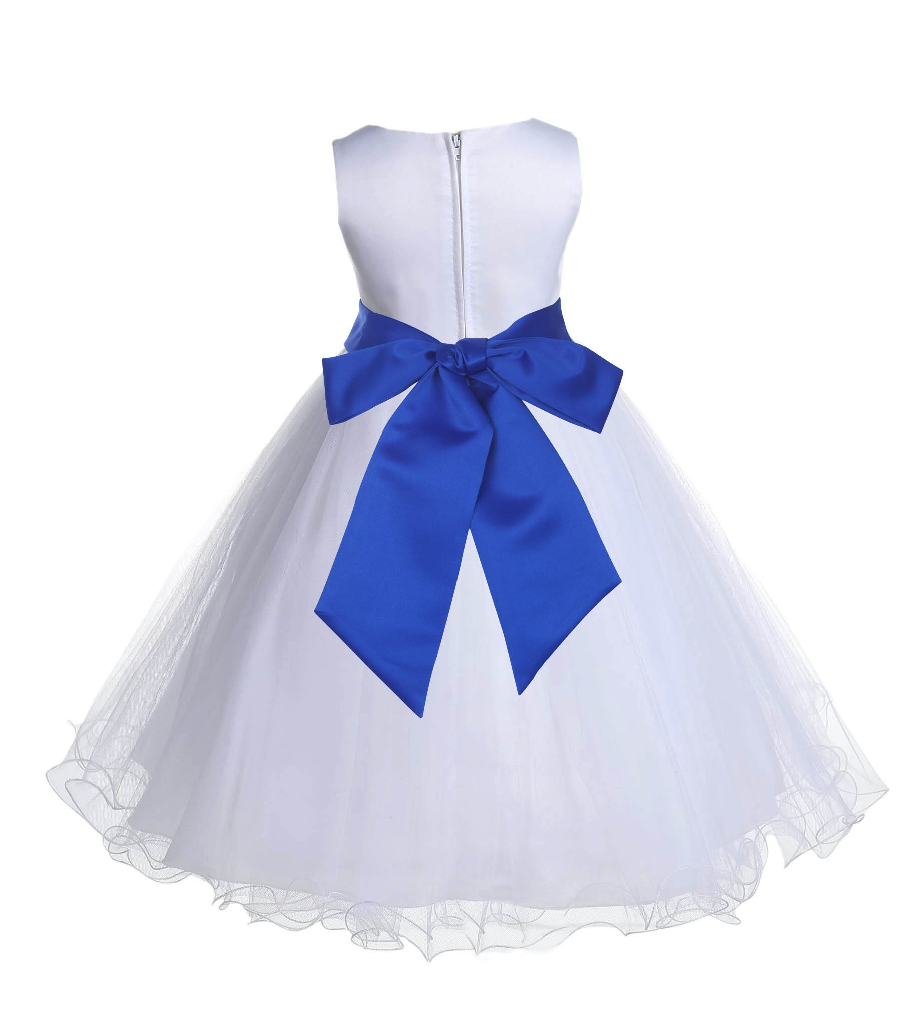3fbf98a2b2b White Horizon Tulle Rattail Edge Flower Girl Dress Wedding Bridal 829S