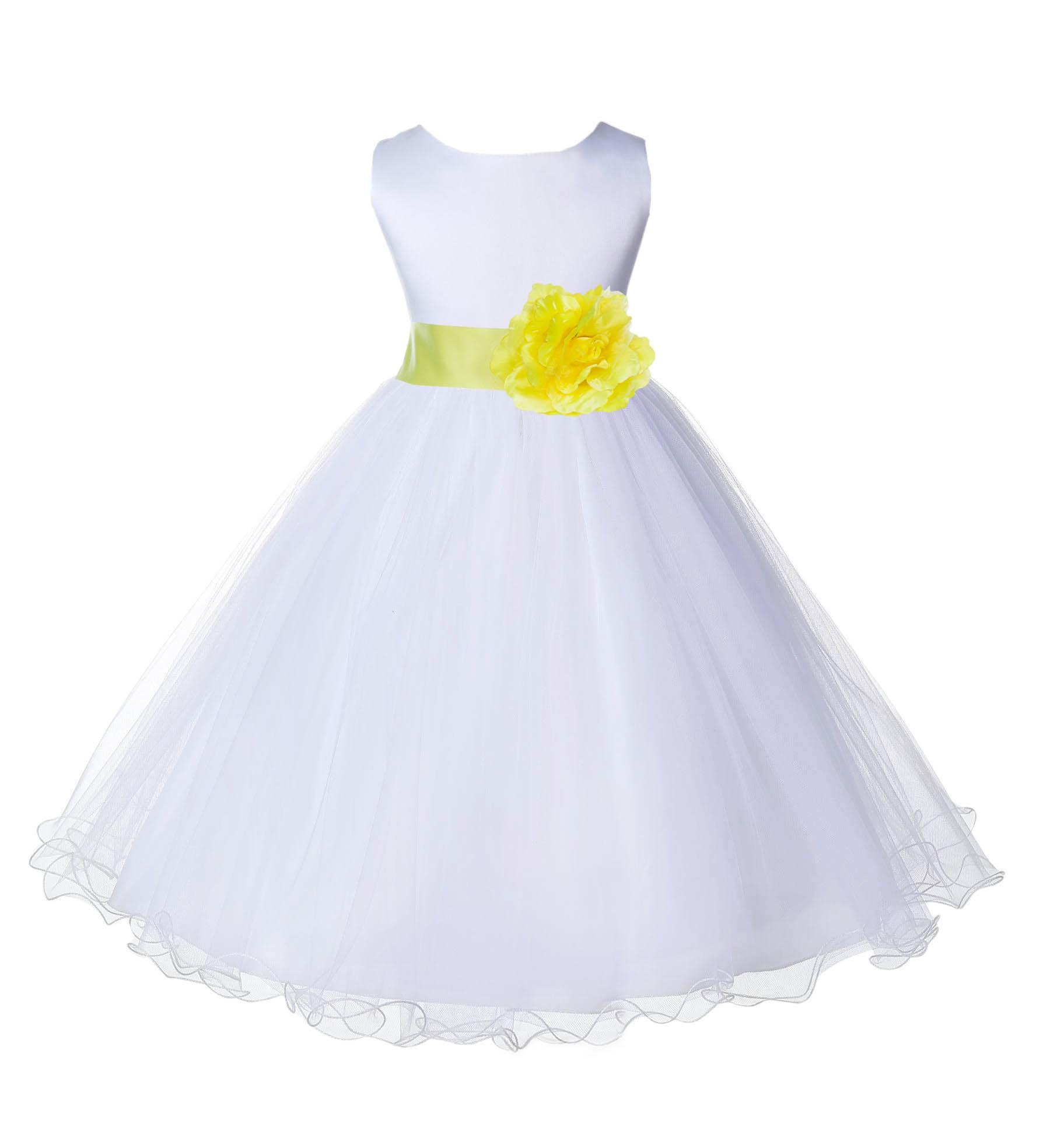 Whitelemon Tulle Rattail Edge Flower Girl Dress Wedding Bridal 829s