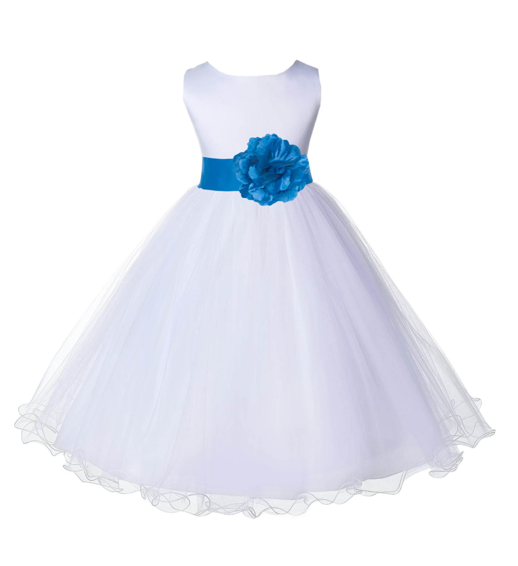 White/Malibu Tulle Rattail Edge Flower Girl Dress Wedding Bridesmaid 829T