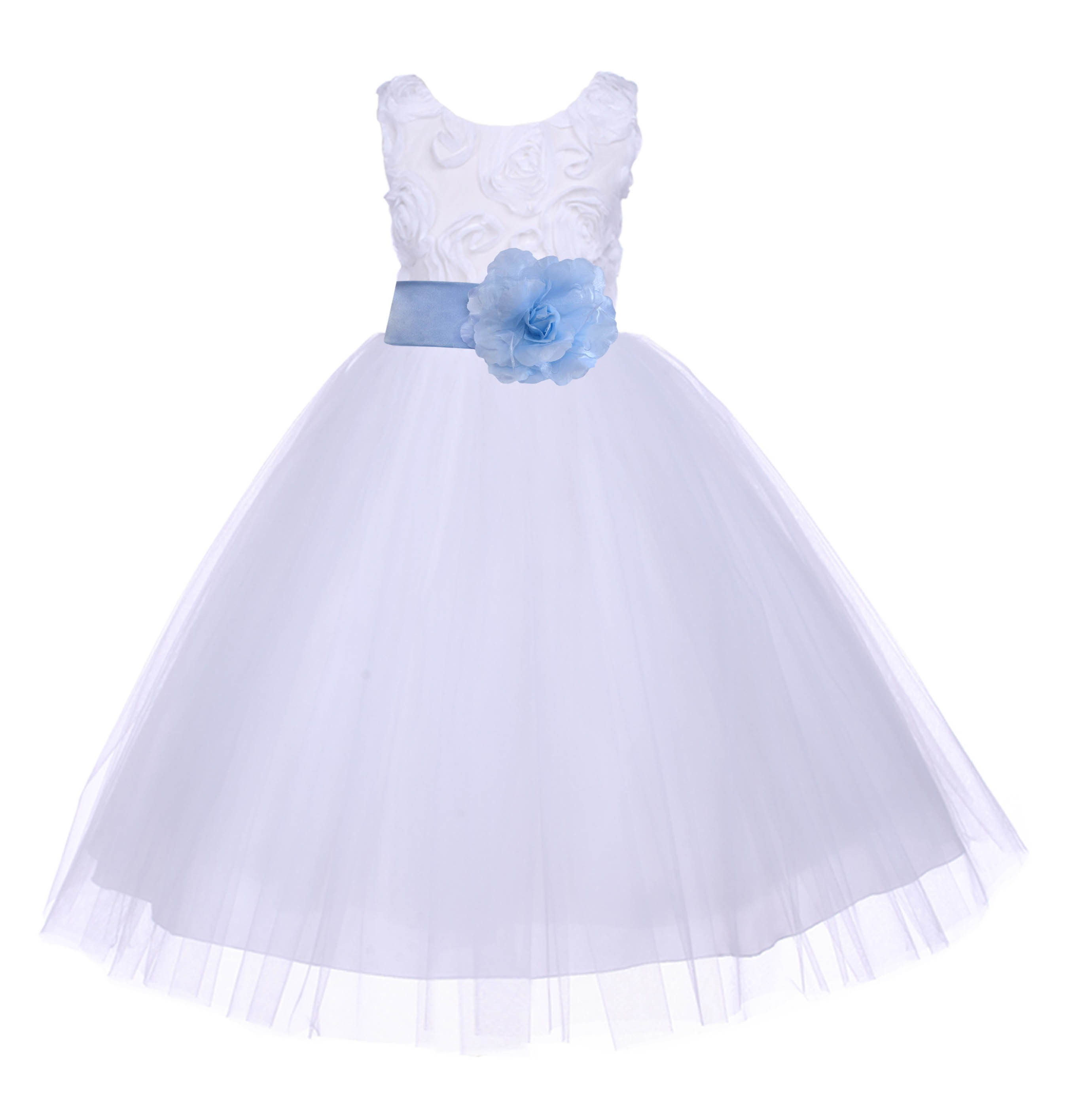 Whitesky tulle 3d floral rose flower girl dress wedding 152s s whitesky tulle 3d floral rose flower girl dress wedding 152s izmirmasajfo