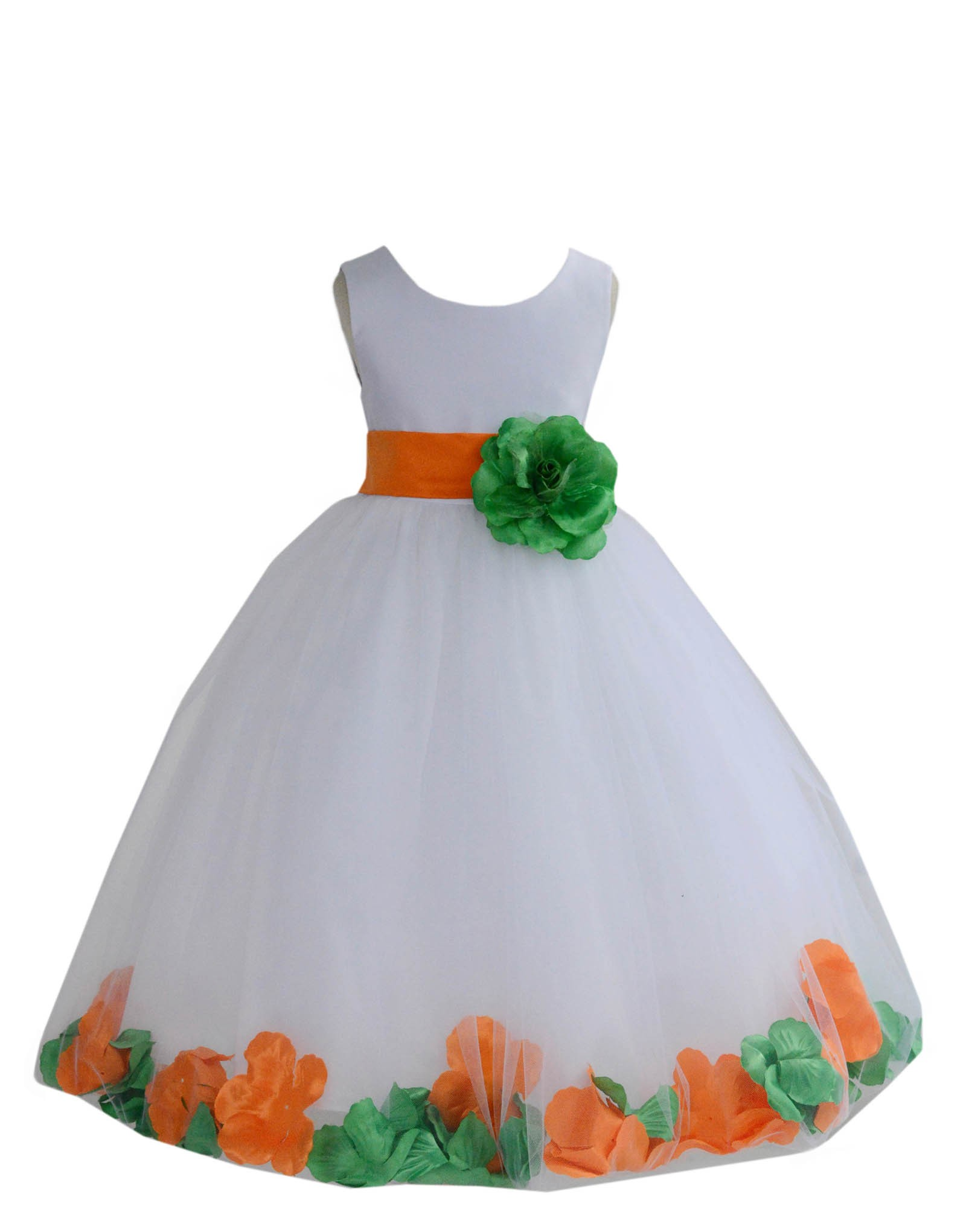 Whiteorange Lime Tulle Mixed Rose Petals Flower Girl Dress 302t