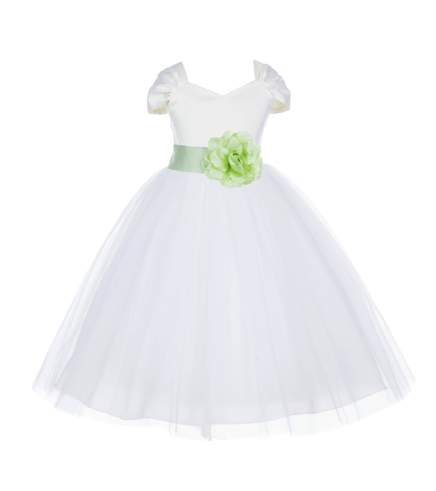 Ivory/Apple Green V-shaped Neckline Short Sleeves Tulle Flower Girl Dress 154S