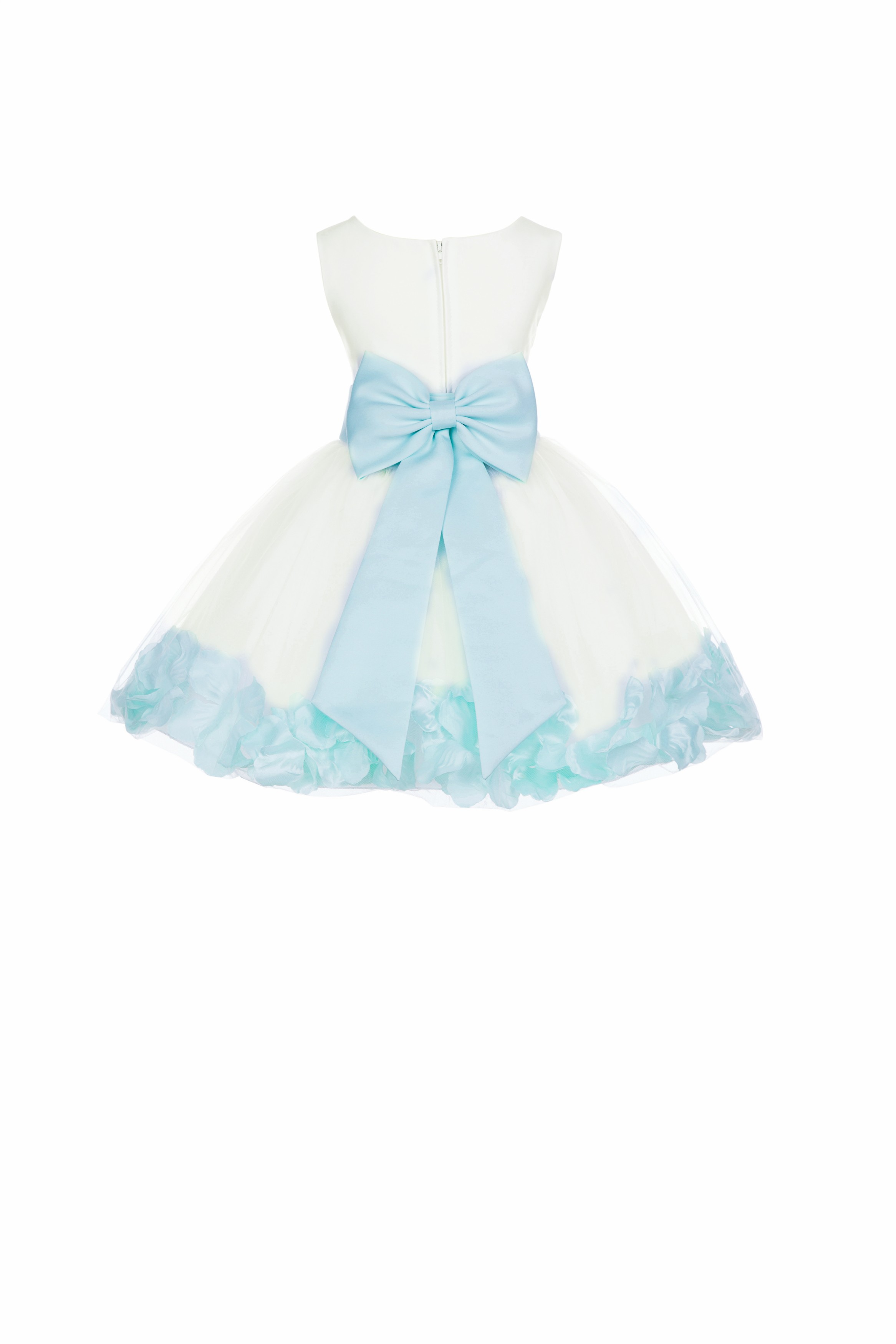 Ivory/Mint Rose Petals Tulle Flower Girl Dress Pageant 305T