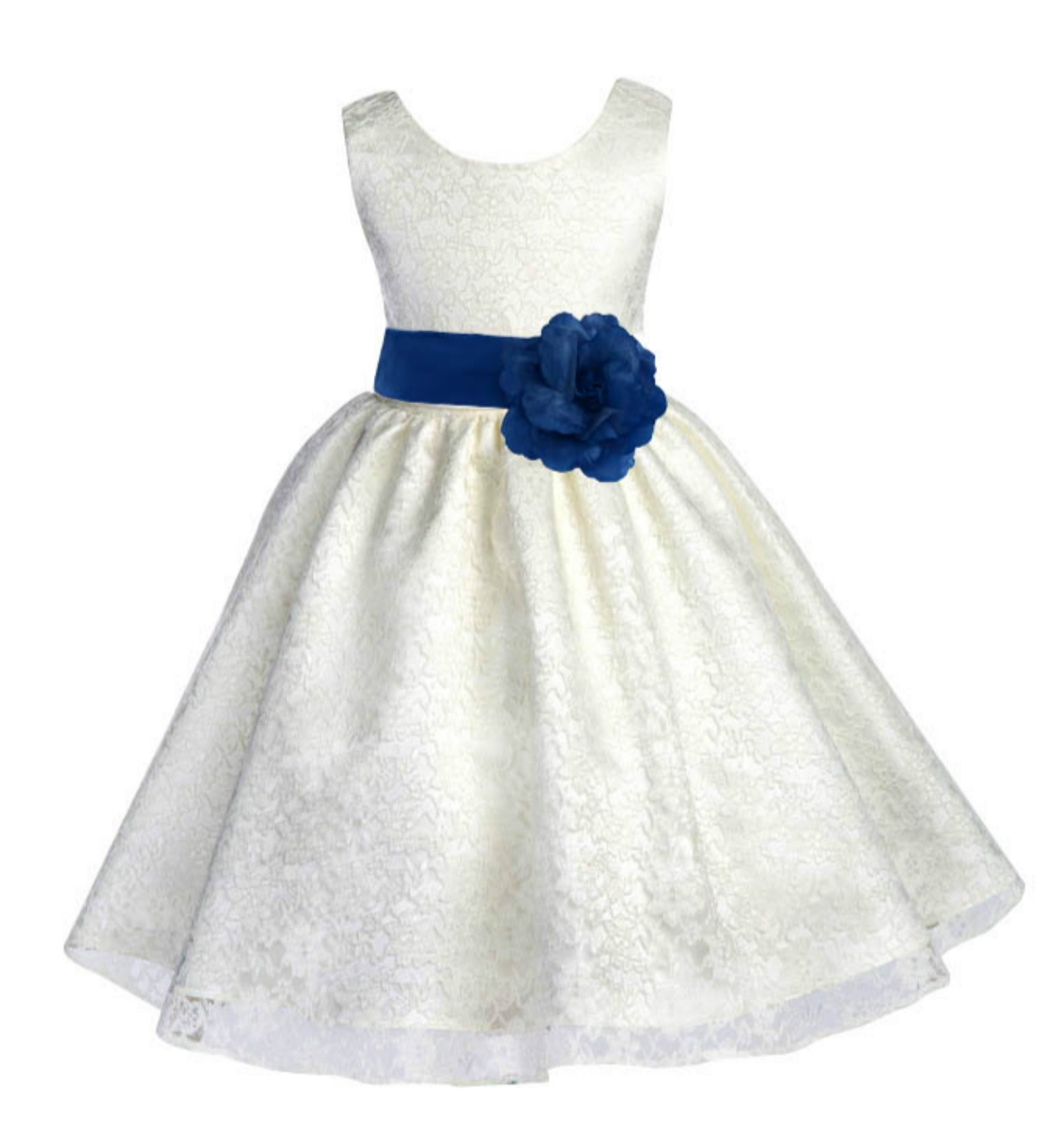Ivory/Royal Blue Floral Lace Overlay Flower Girl Dress Special Event 163S
