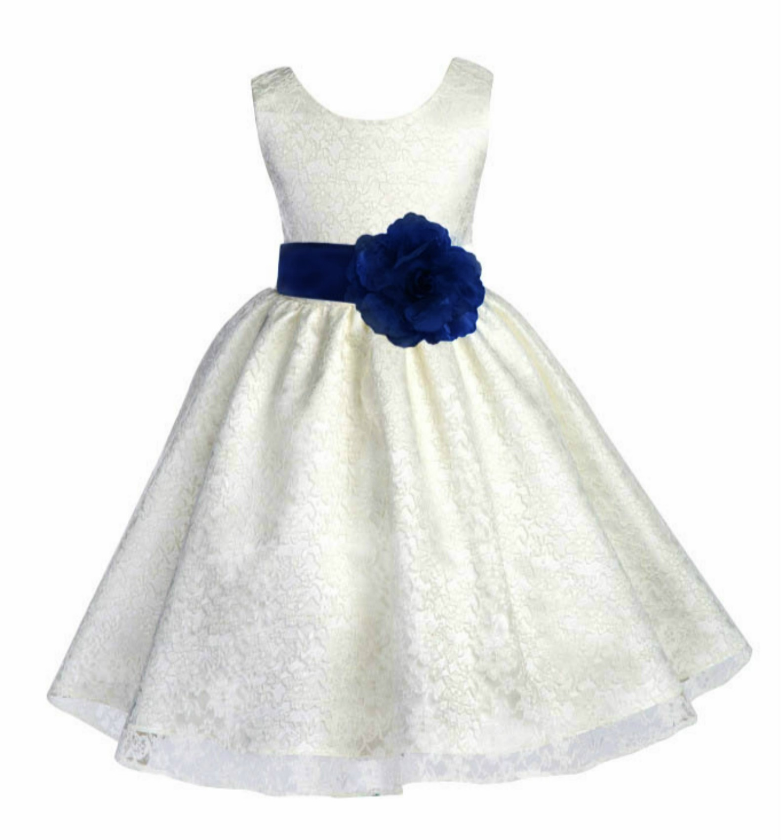 Ivory/Navy Floral Lace Overlay Flower Girl Dress Special Event 163S