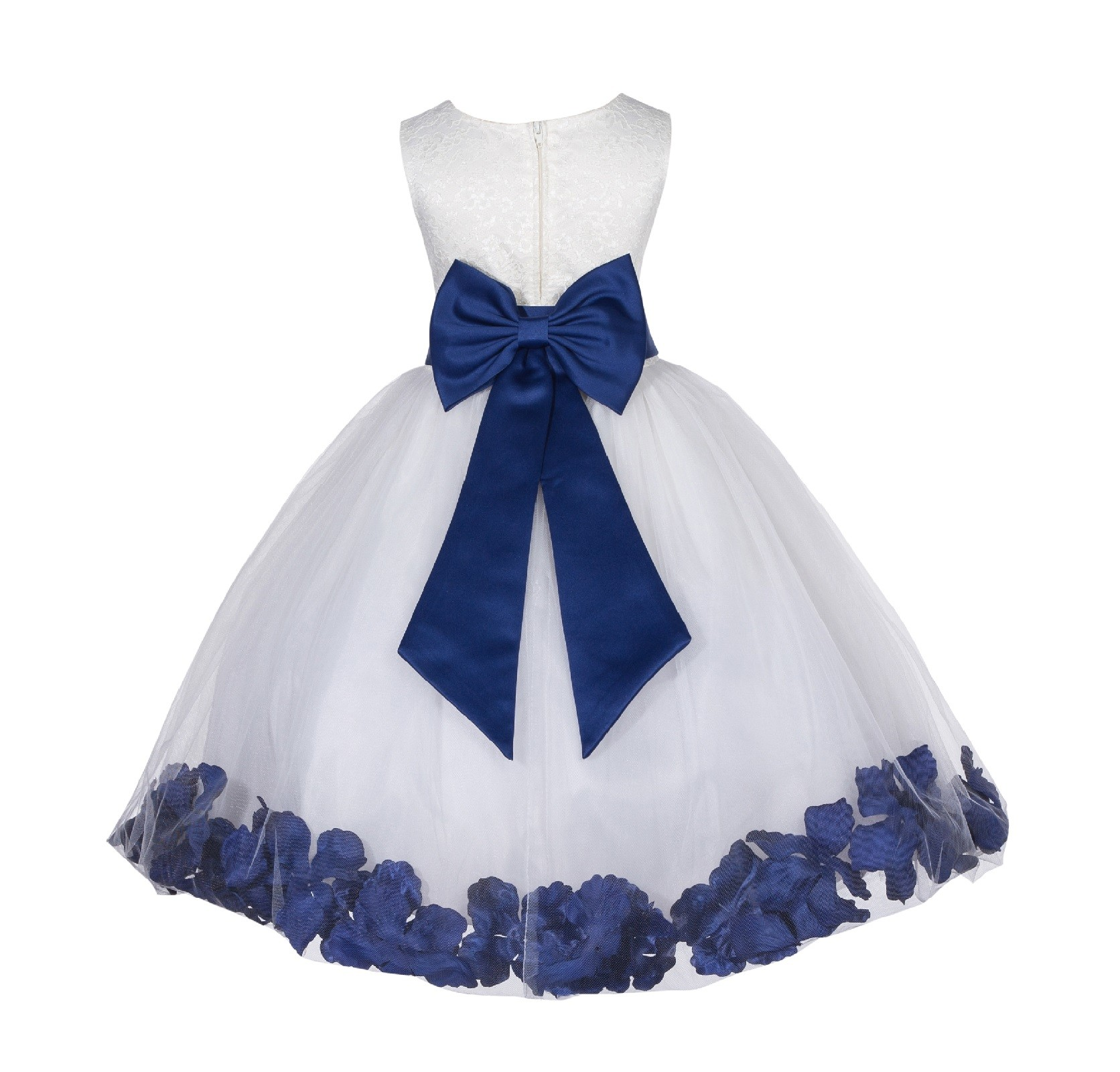 Ivorynavy Lace Top Floral Petals Ivory Flower Girl Dress 165t