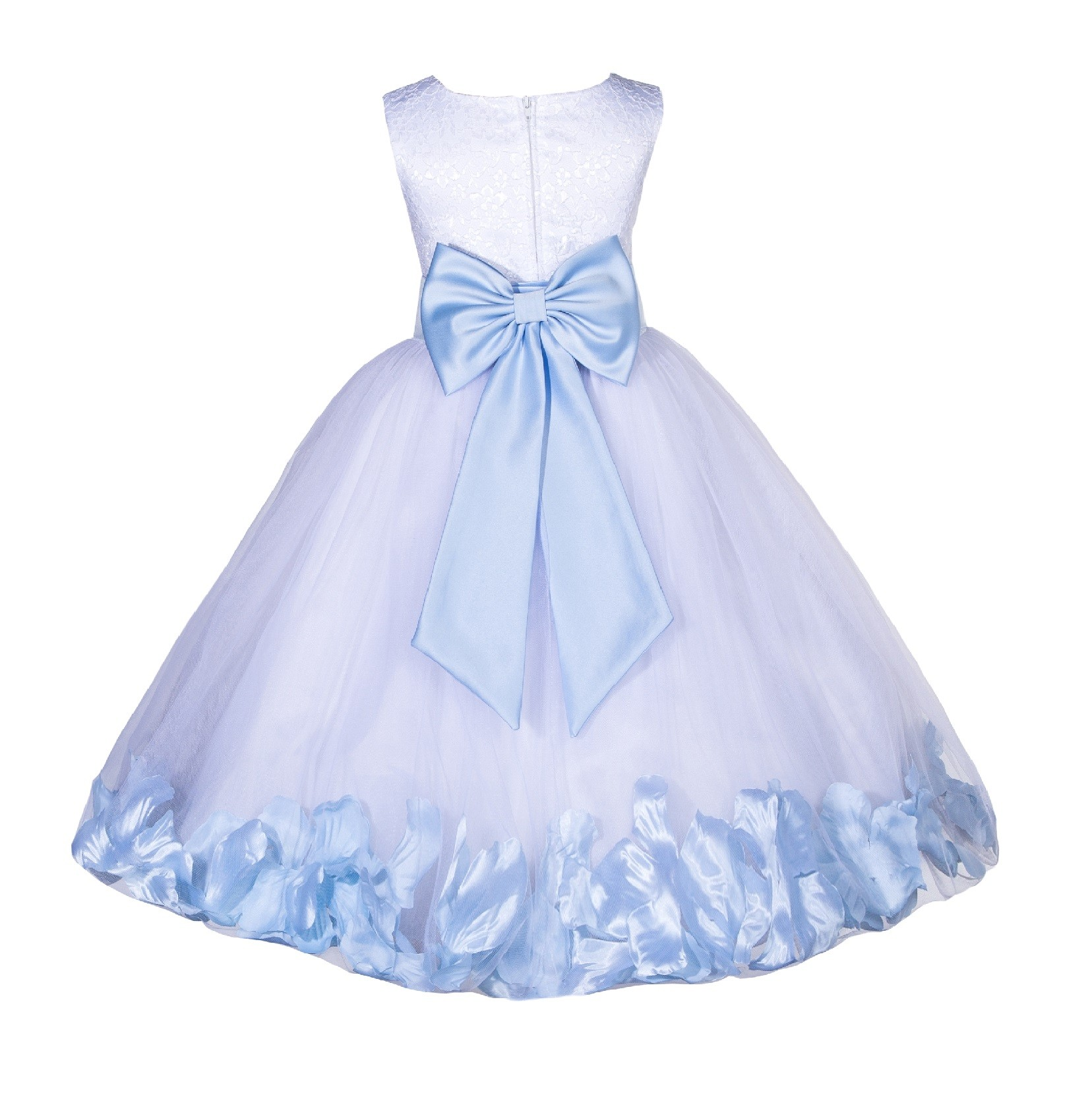 White Ice Blue Lace Top Tulle Floral Petals Flower Girl Dress 165t In