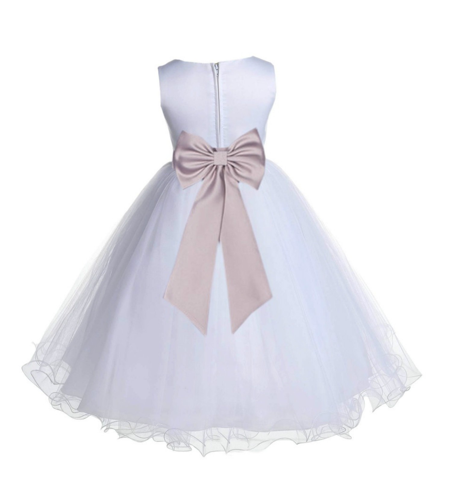 White/Biscuit Tulle Rattail Edge Flower Girl Dress Wedding Bridesmaid 829T