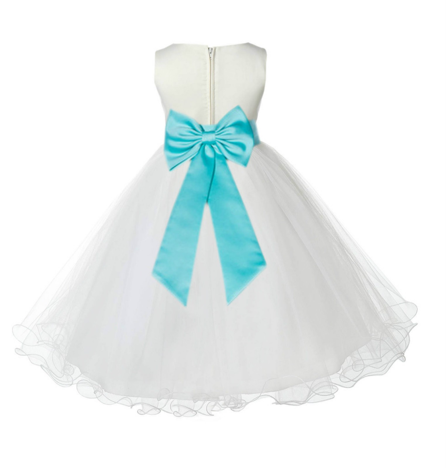Ivory/Tiffany Tulle Rattail Edge Flower Girl Dress Pageant Recital 829T
