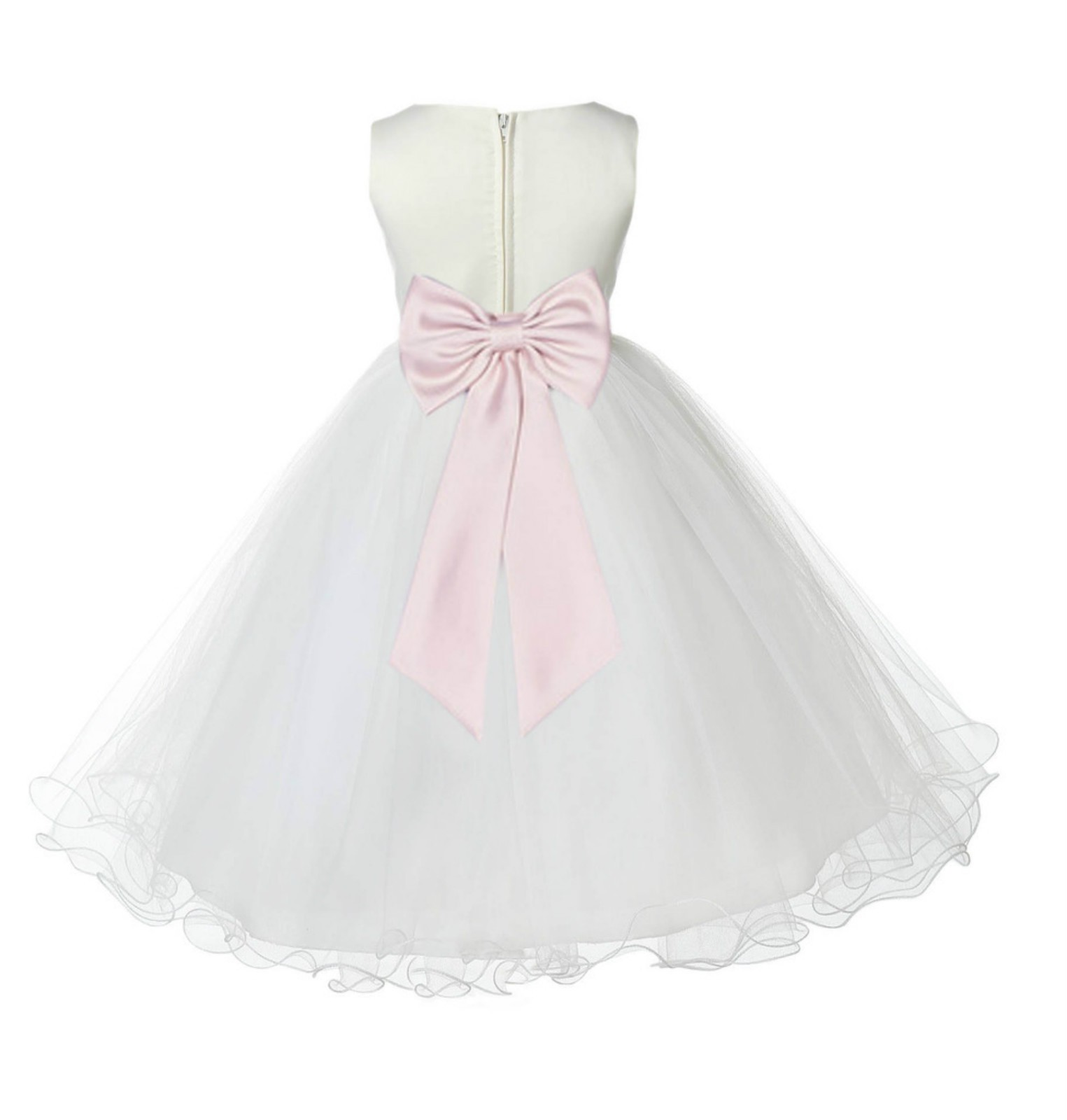 Ivory/Blush Pink Tulle Rattail Edge Flower Girl Dress Pageant Recital 829T