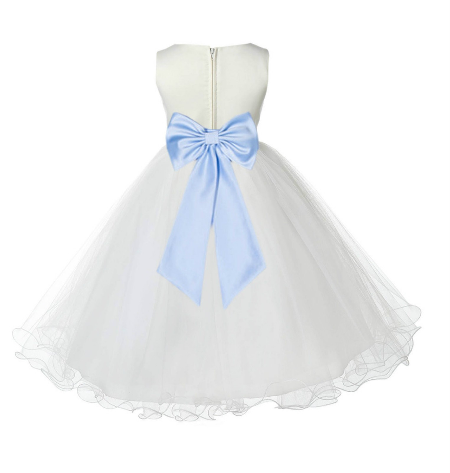 Ivory/Ice Blue Tulle Rattail Edge Flower Girl Dress Pageant Recital 829T