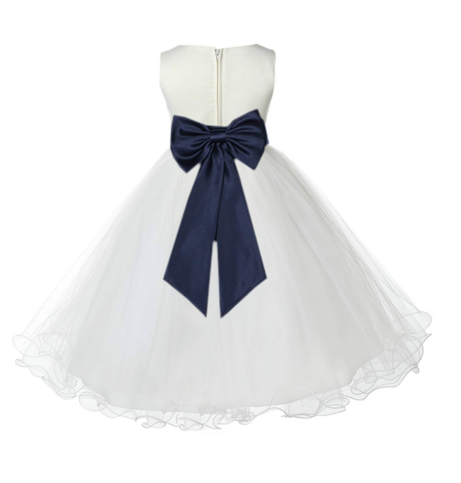 Ivory/Midnight Tulle Rattail Edge Flower Girl Dress Pageant Recital 829T