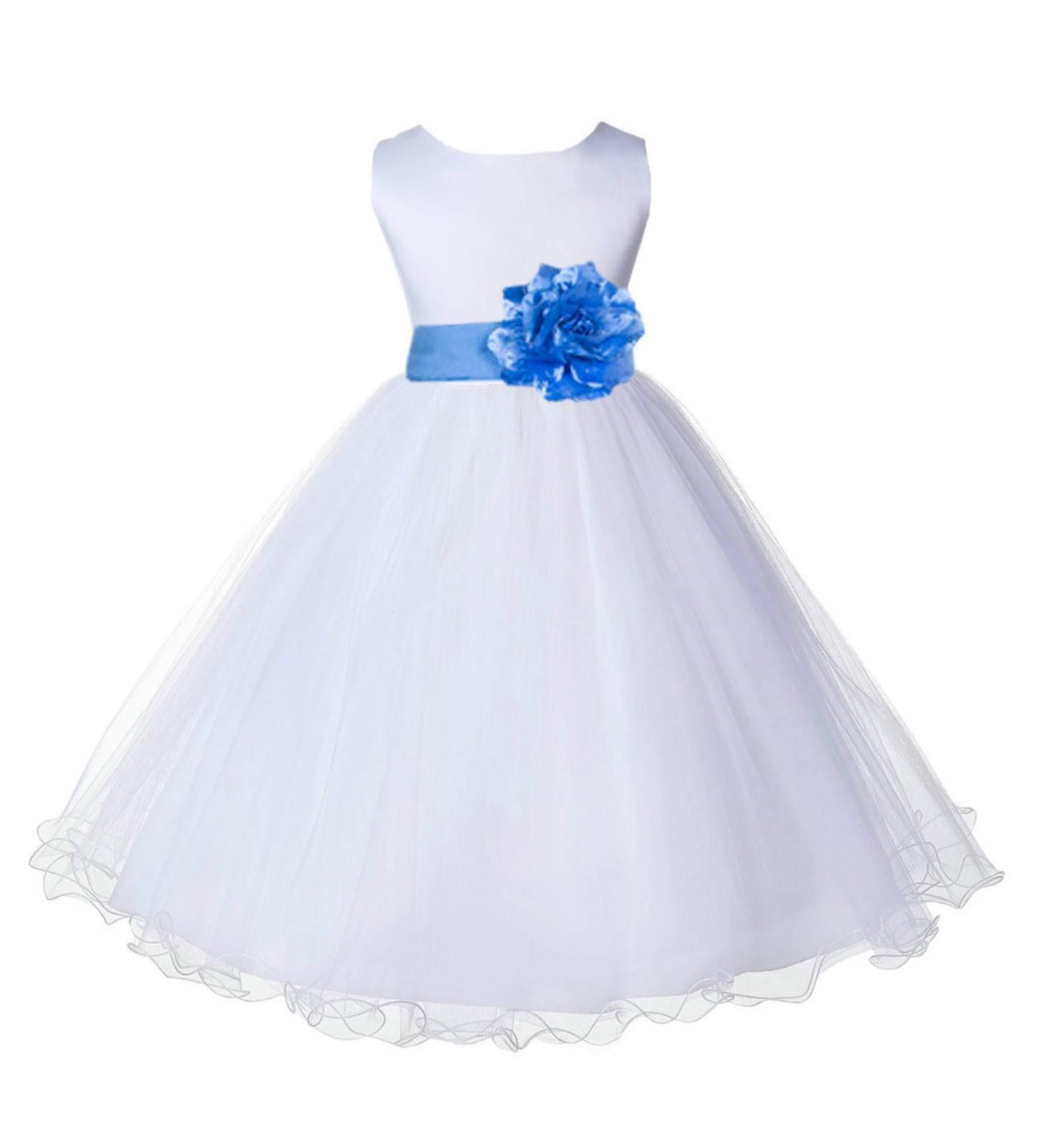 White/Cornflower Tulle Rattail Edge Flower Girl Dress Wedding Bridal 829S