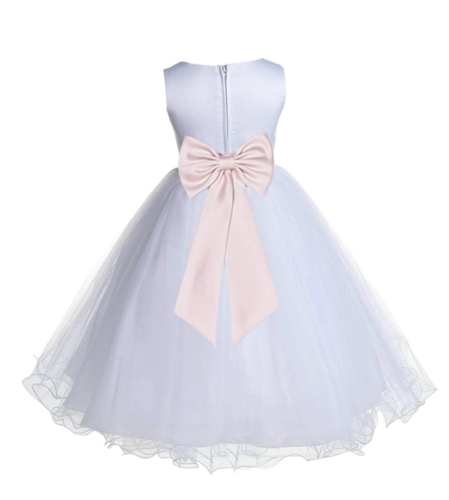White/Blush Pink Tulle Rattail Edge Flower Girl Dress Wedding Bridesmaid 829T