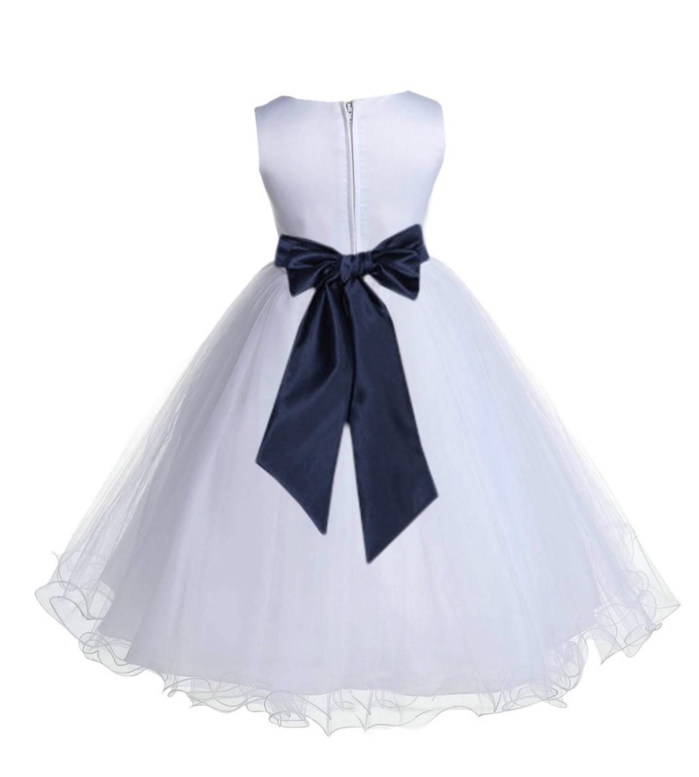 White/Midnight Tulle Rattail Edge Flower Girl Dress Wedding Bridal 829S