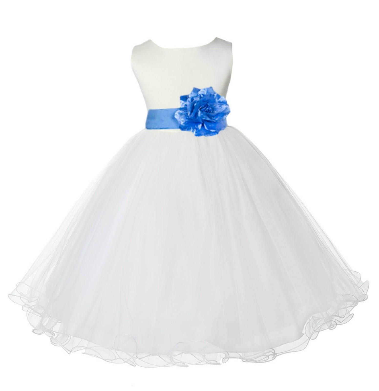 Ivory/Cornflower Tulle Rattail Edge Flower Girl Dress Pageant Recital 829S