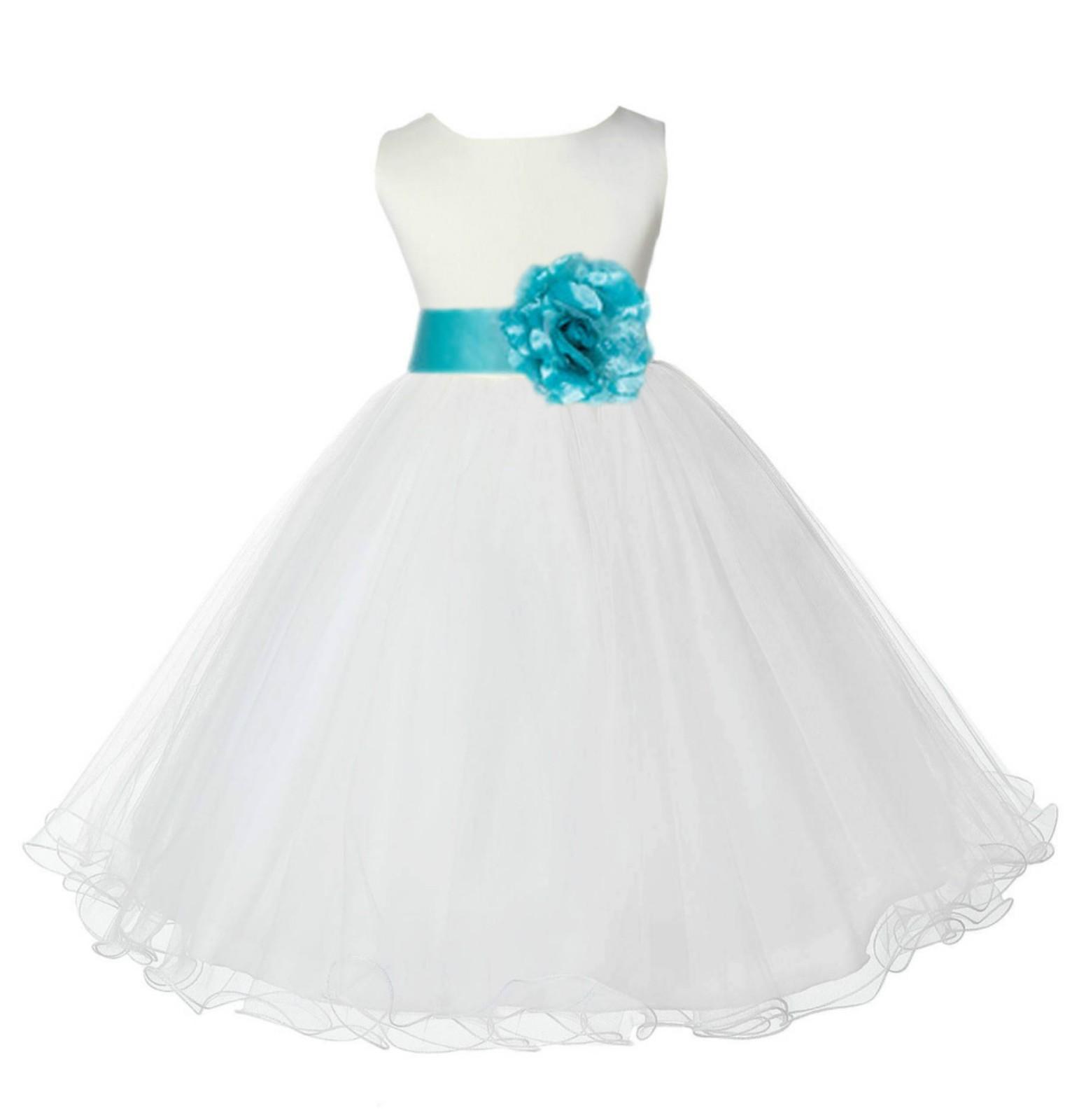 Ivorytiffany Tulle Rattail Edge Flower Girl Dress Pageant Recital 829s