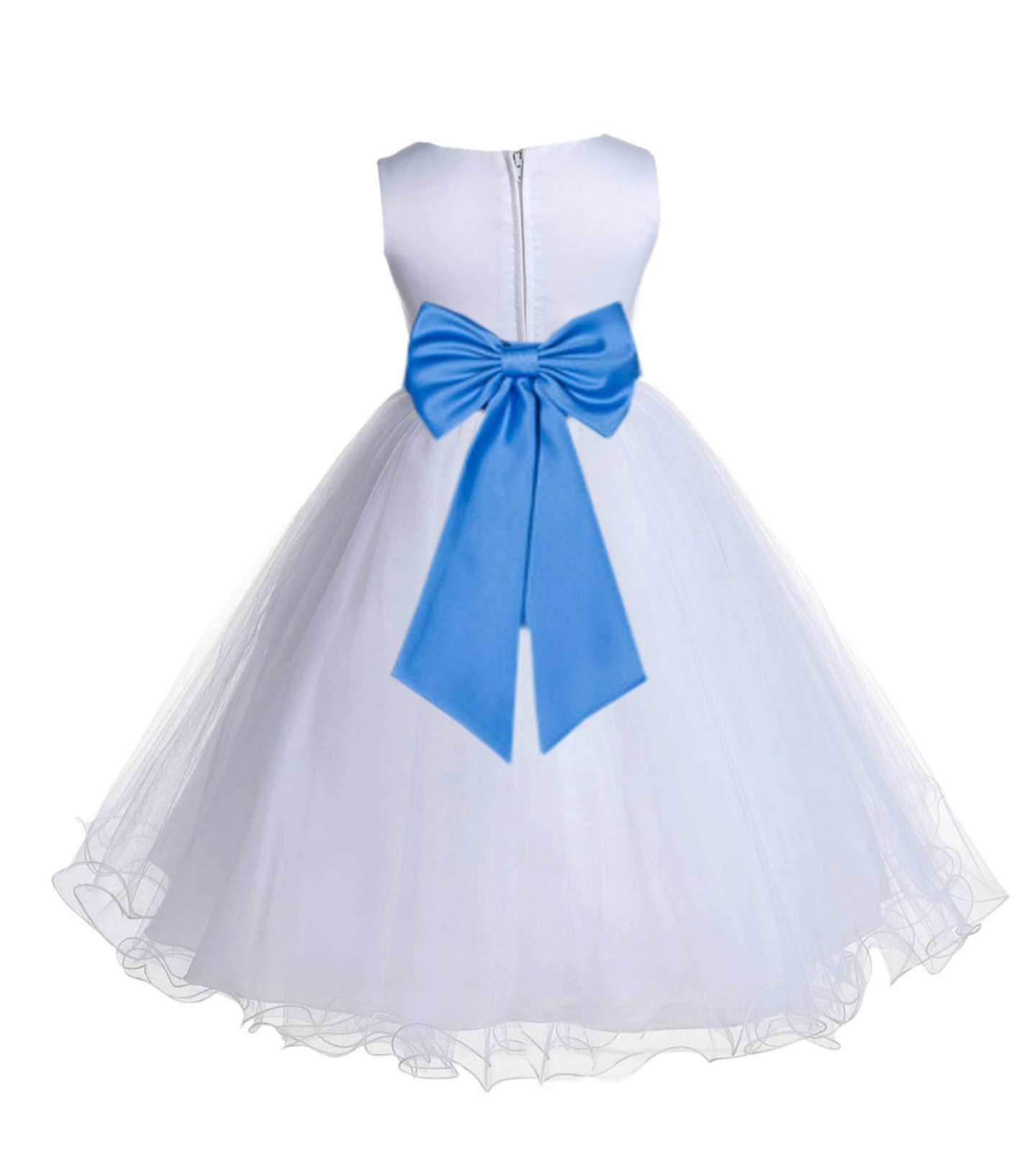 White/Cornflower Tulle Rattail Edge Flower Girl Dress Wedding Bridesmaid 829T