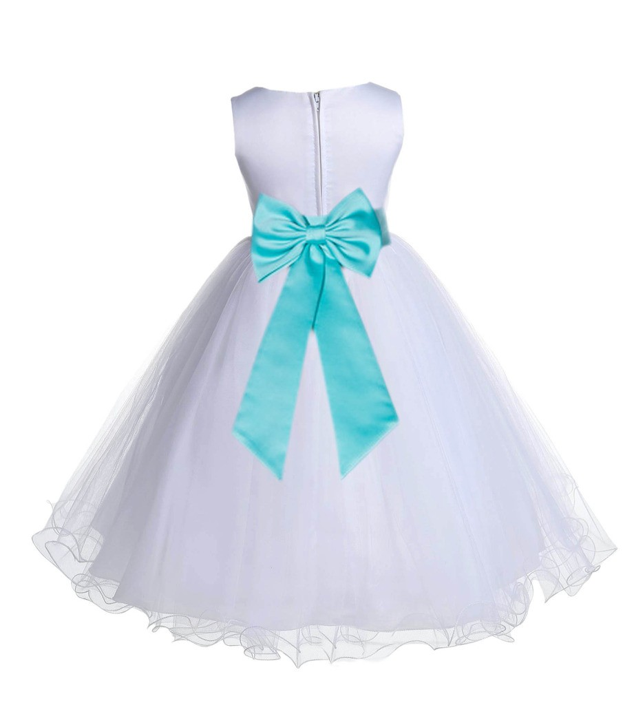 White/Tiffany Tulle Rattail Edge Flower Girl Dress Wedding Bridesmaid 829T